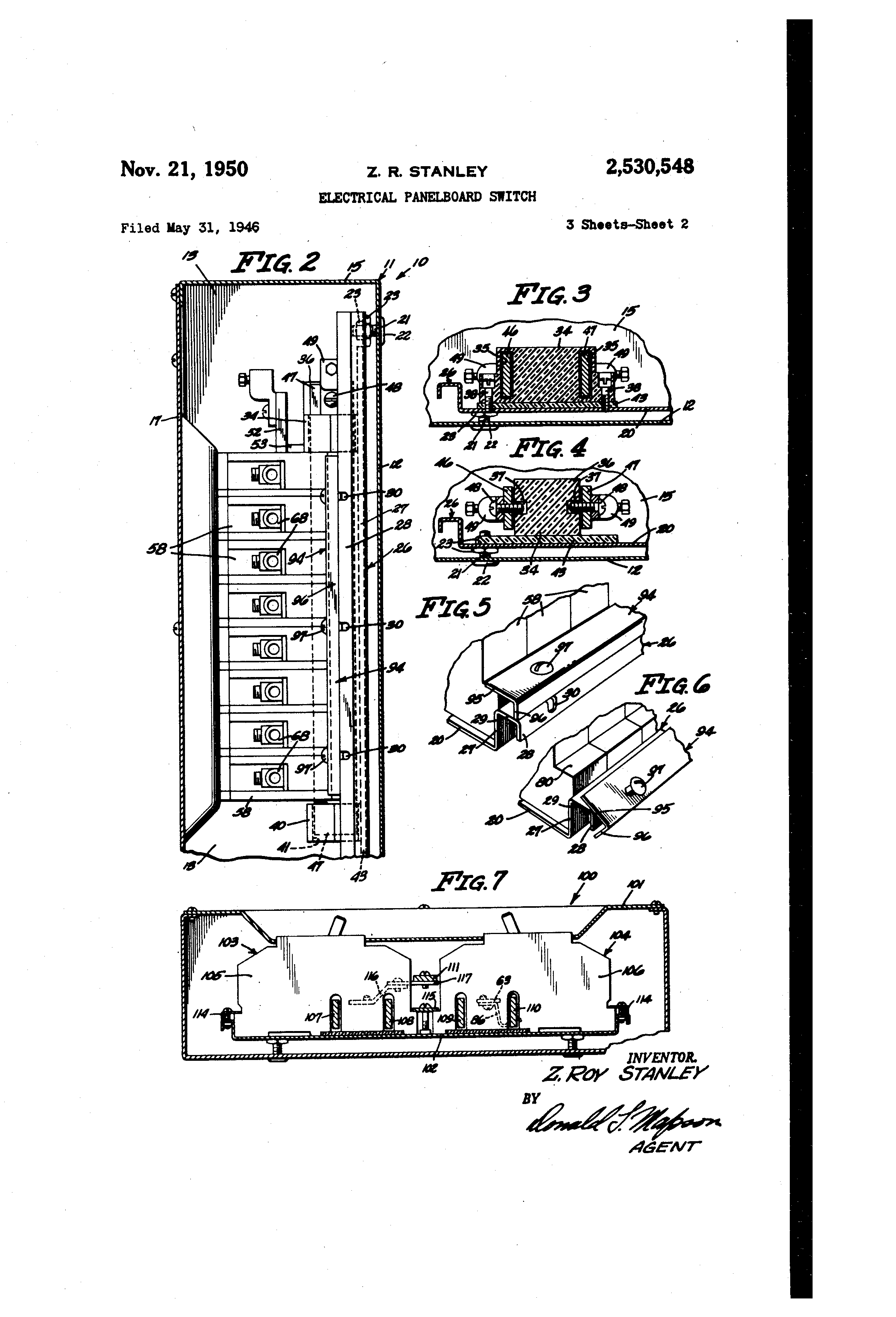 Patent Us2530548 - Electrical Panel Board Switch