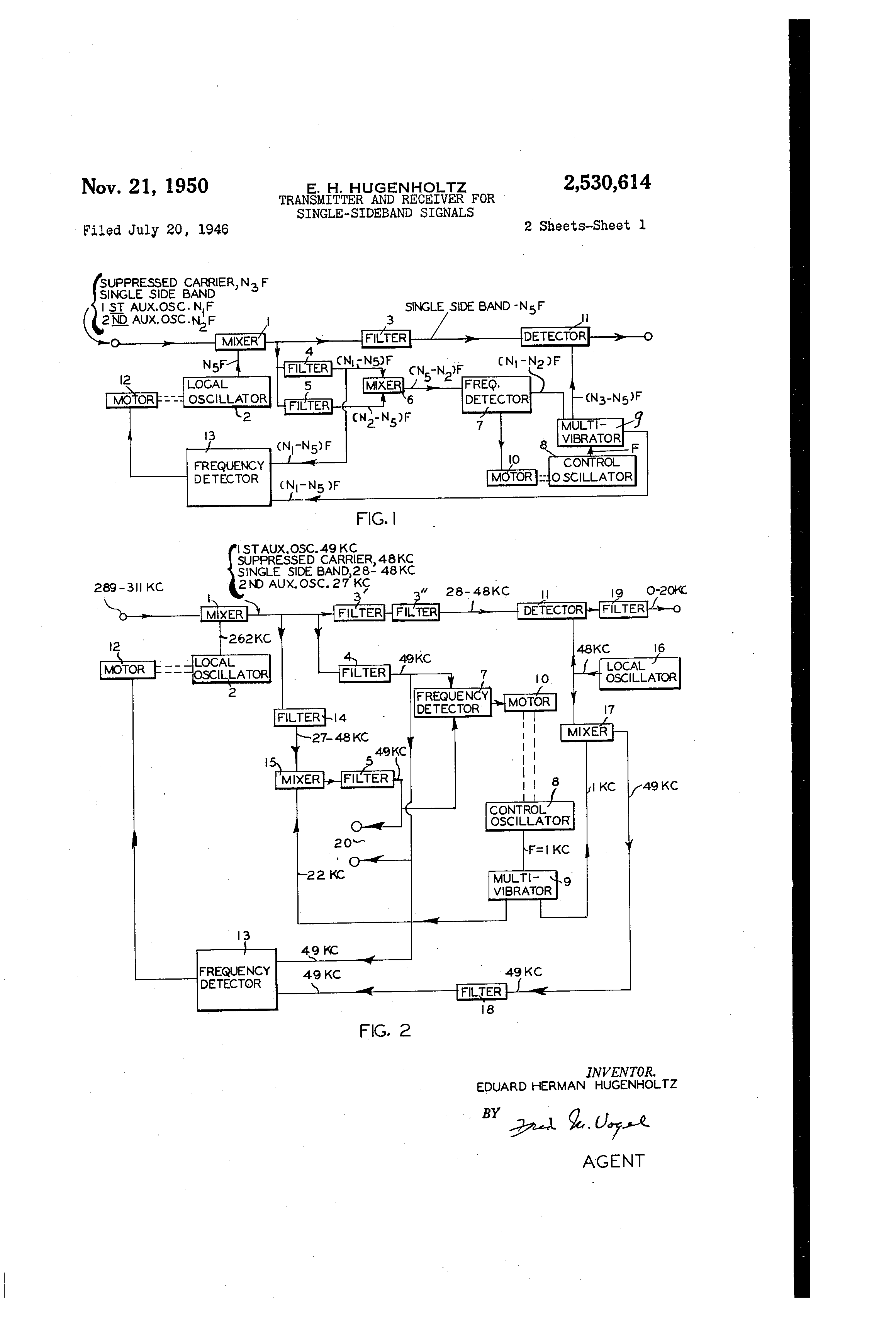 patent us2530614 transmitter and receiver for single sideband Digital TV Receiver for Signals patent drawing