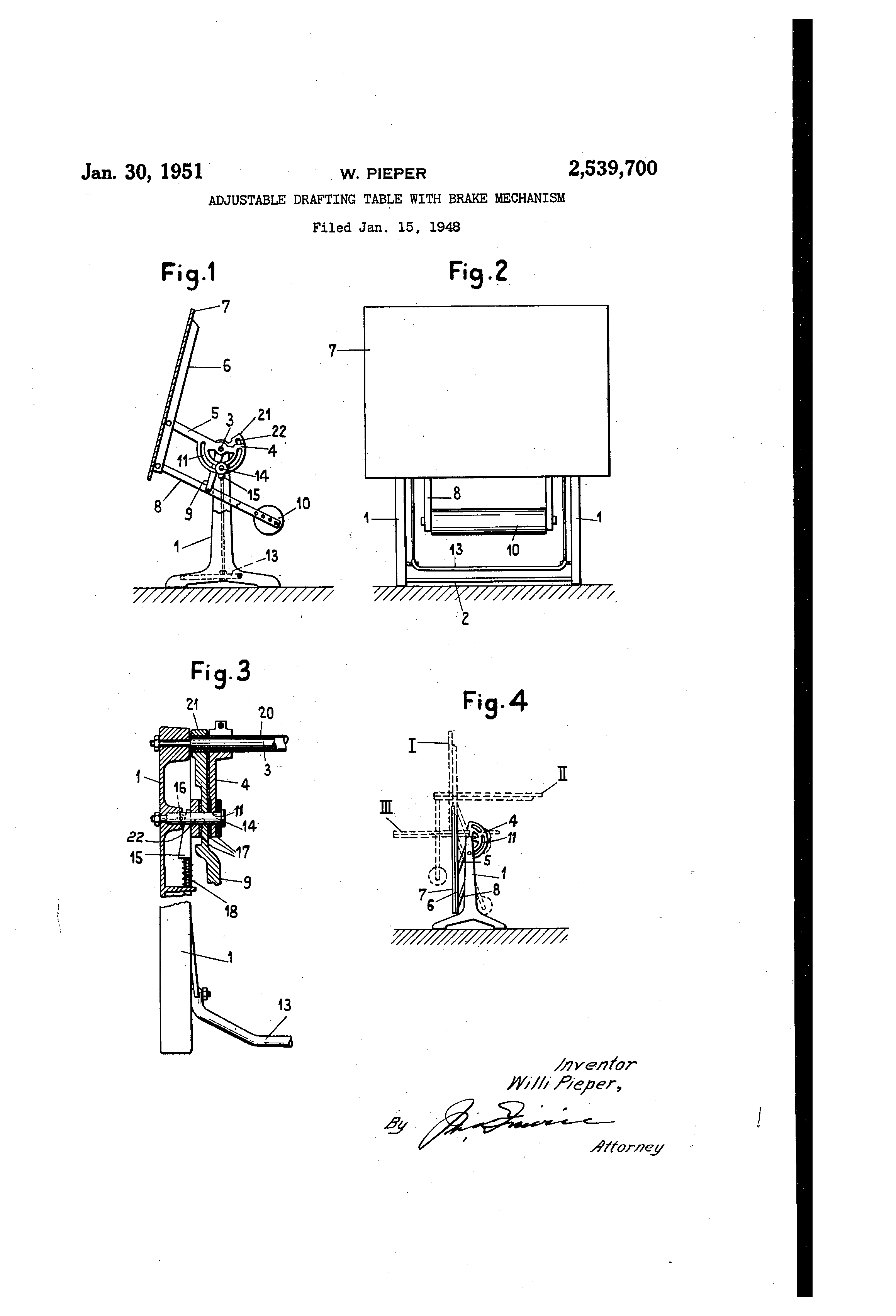 Drafting table dimensions - Patent Drawing