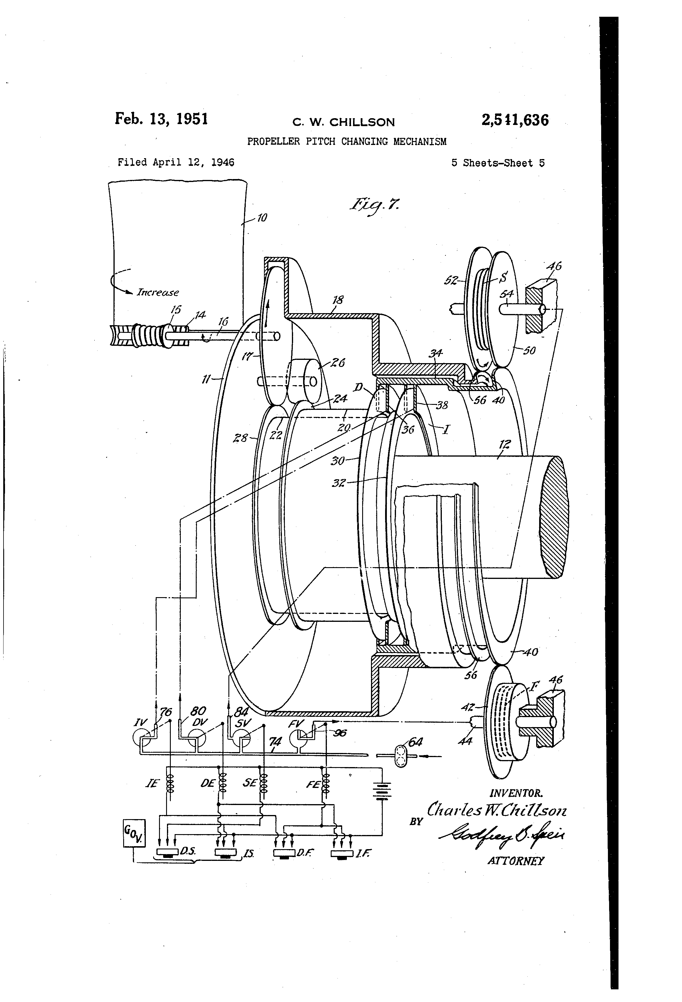 Brevet US2541636 - Propeller pitch changing mechanism - Google