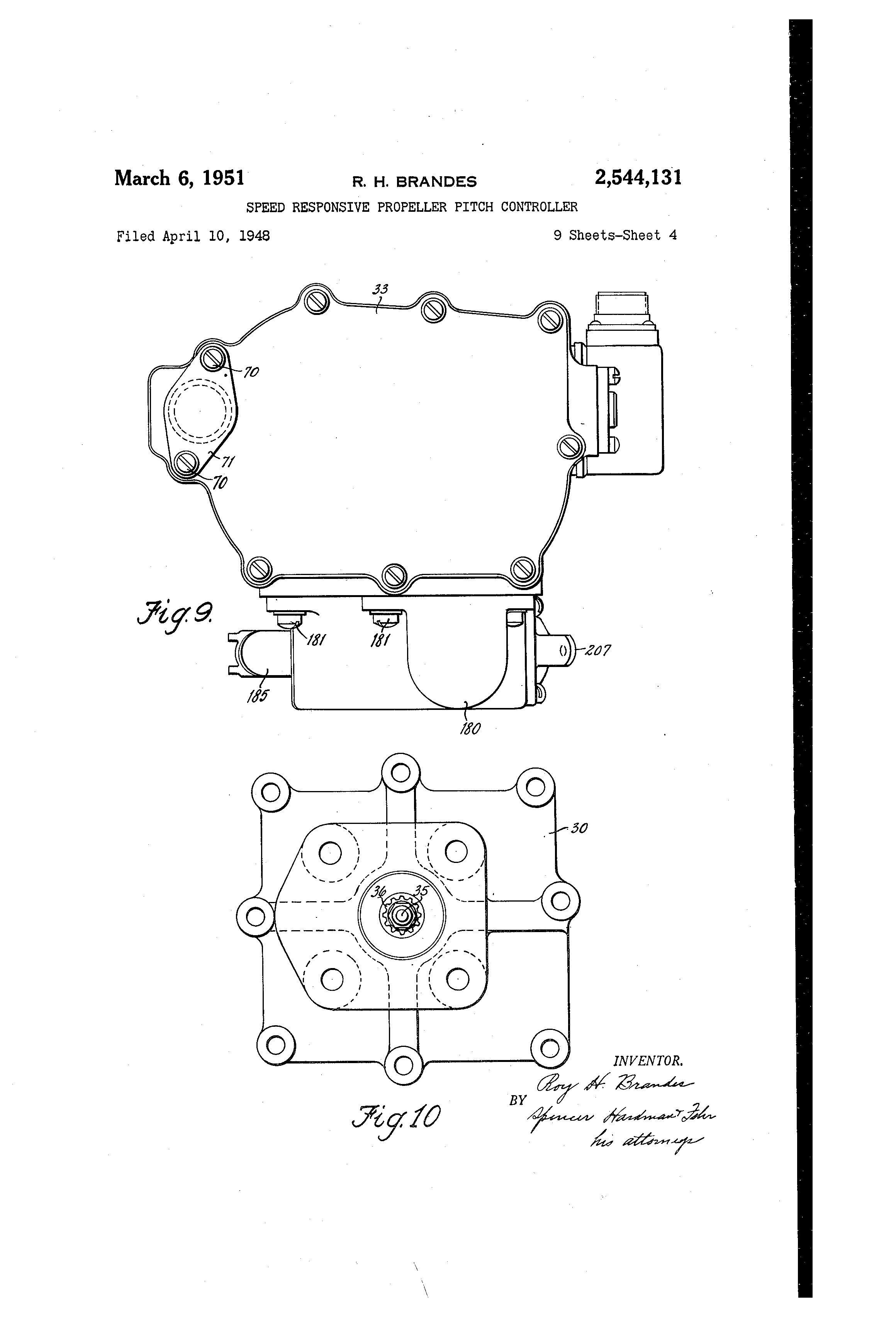 Patent US2544131 - Speed responsive propeller pitch
