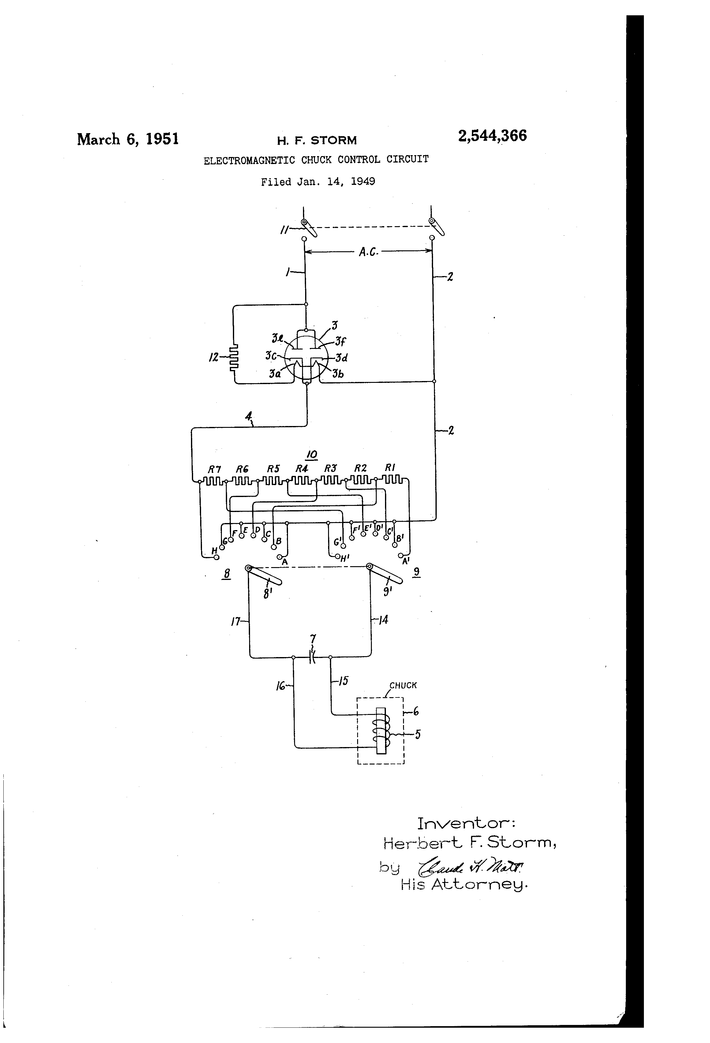 US2544366 0 patent us2544366 electromagnetic chuck control circuit google electromagnet wiring diagram at crackthecode.co