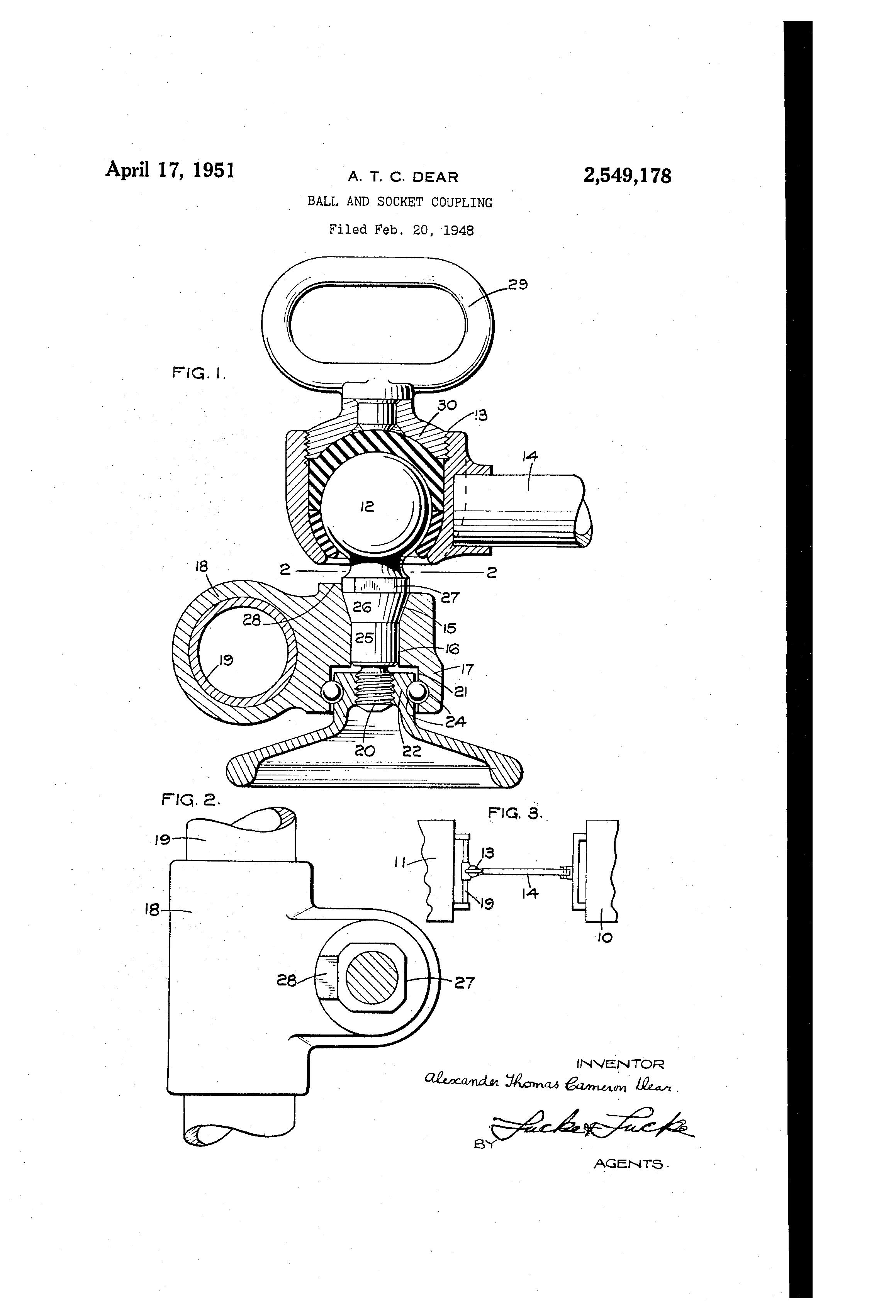 Patent us ball and socket coupling google patents