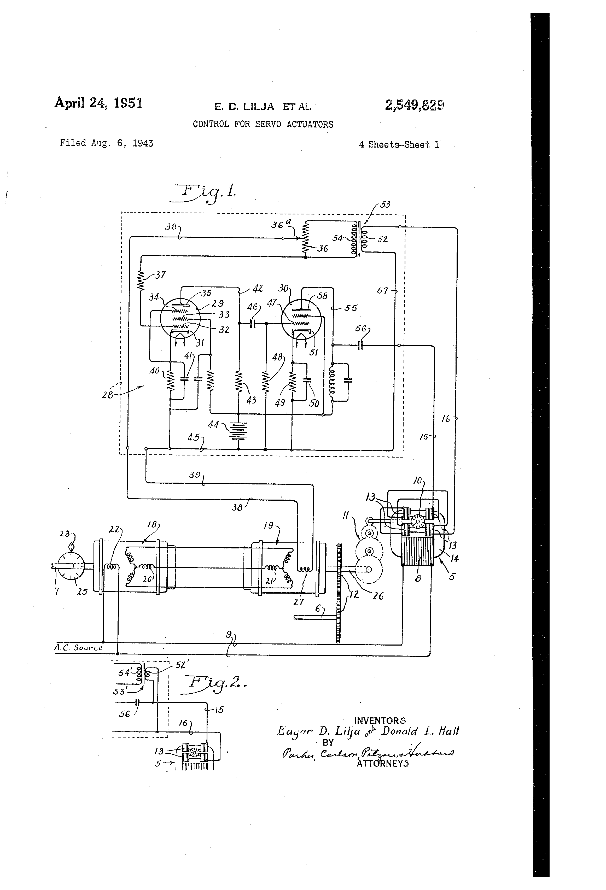 patent us2549829 control for servo actuators patents Motion Activated Servo patent drawing