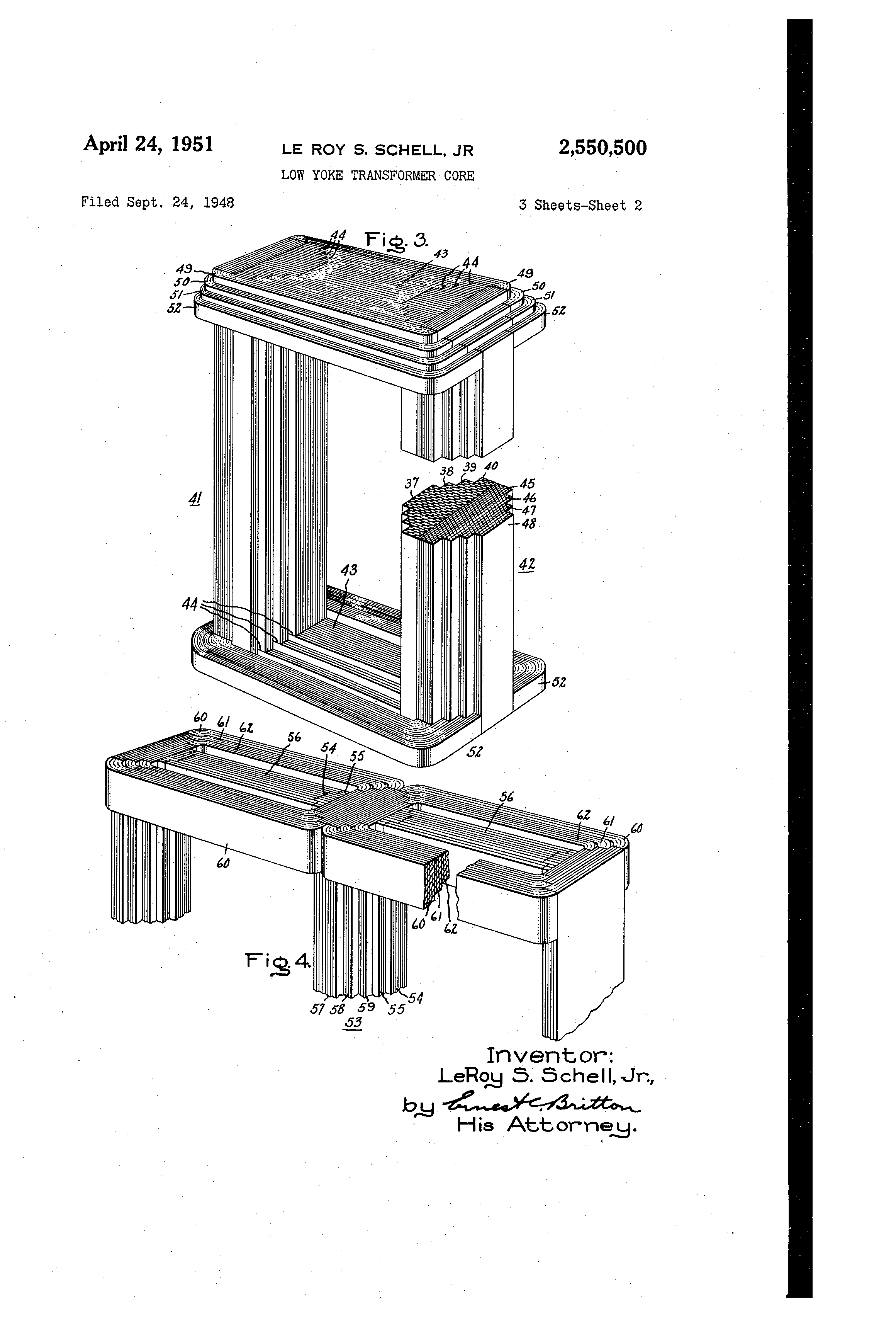 patent us2550500 - low yoke transformer core