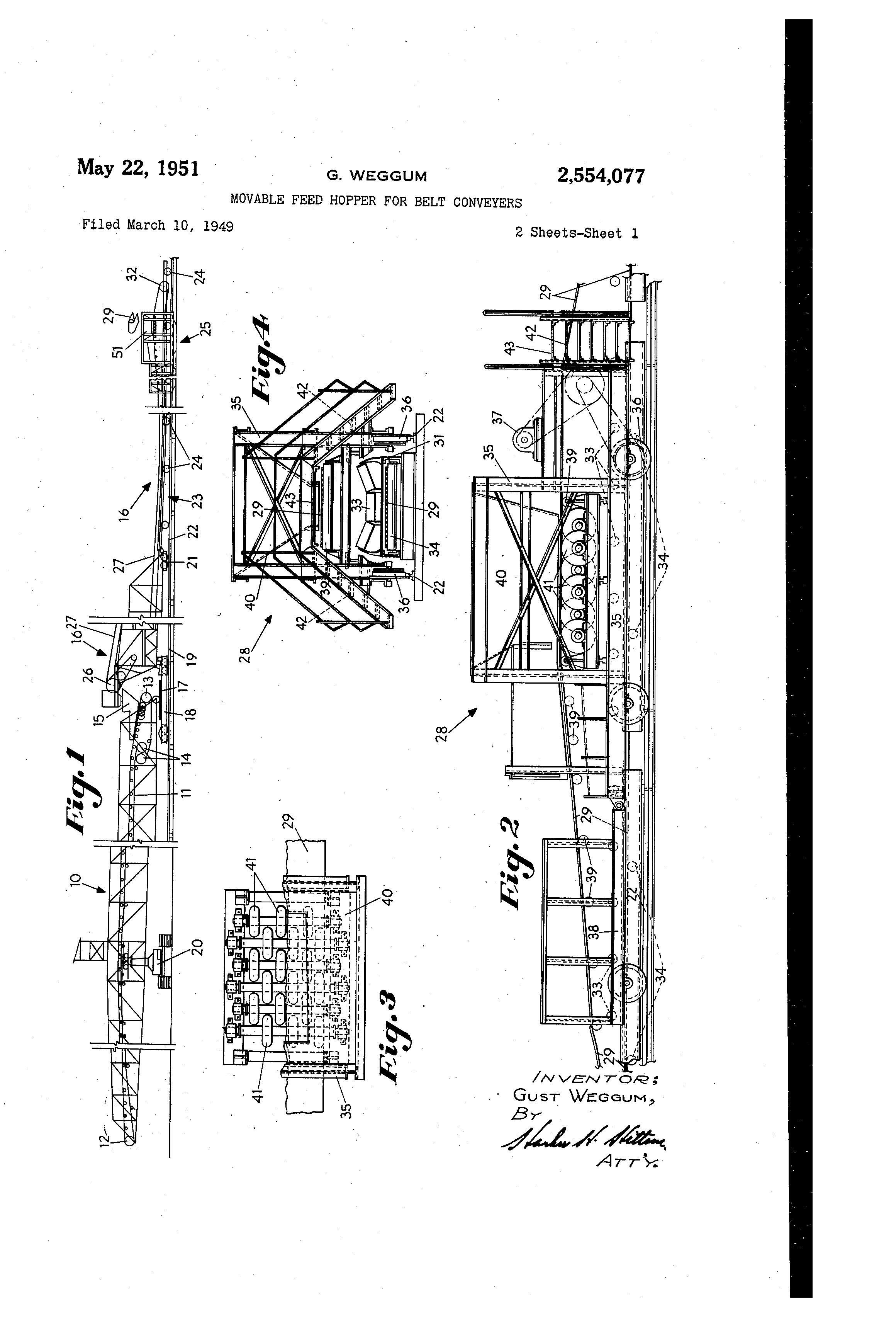 Patent US2554077 - Movable feed hopper for belt conveyers - Google