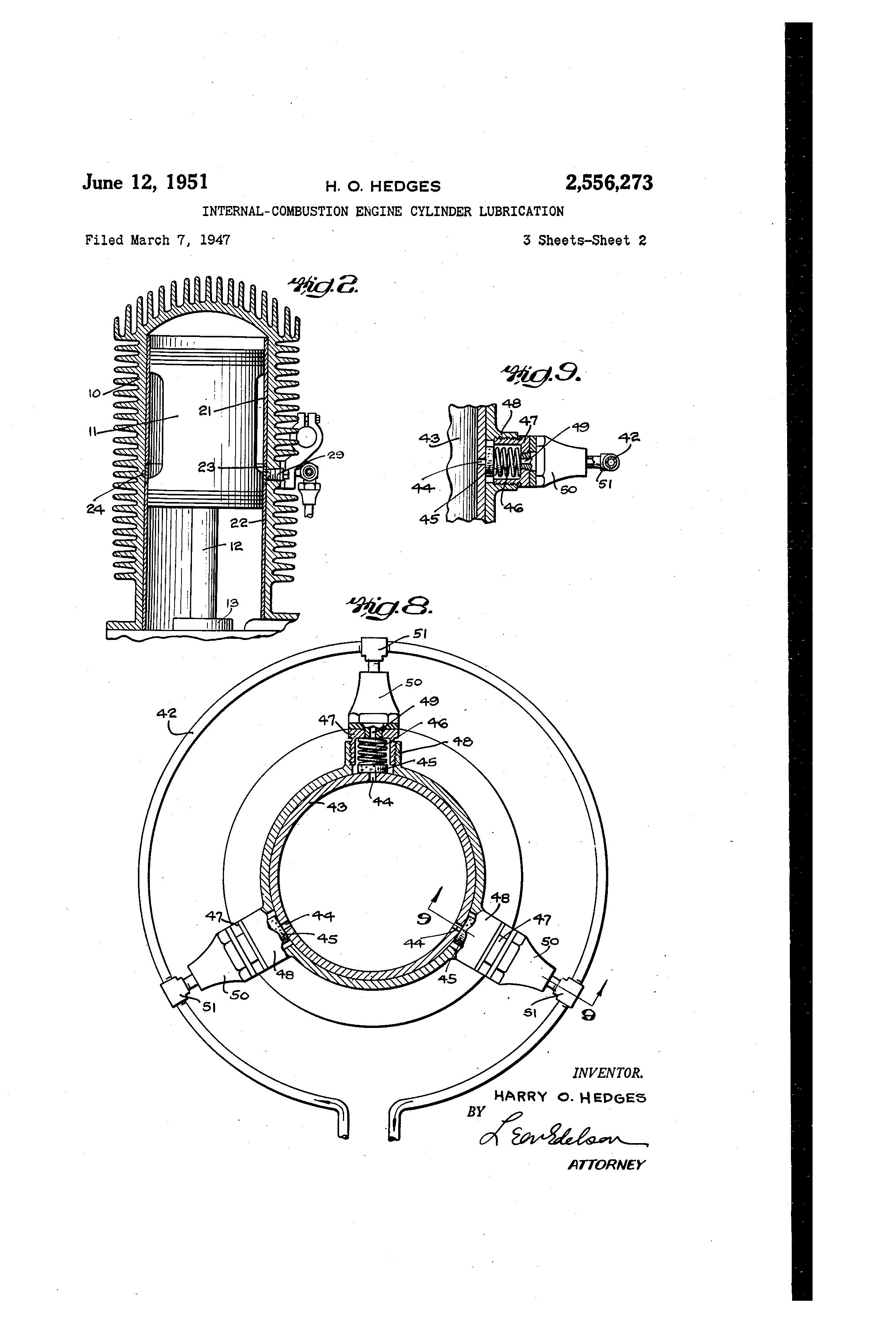 patent us2556273 internal bustion engine cylinder lubrication Manual Transmission patent drawing