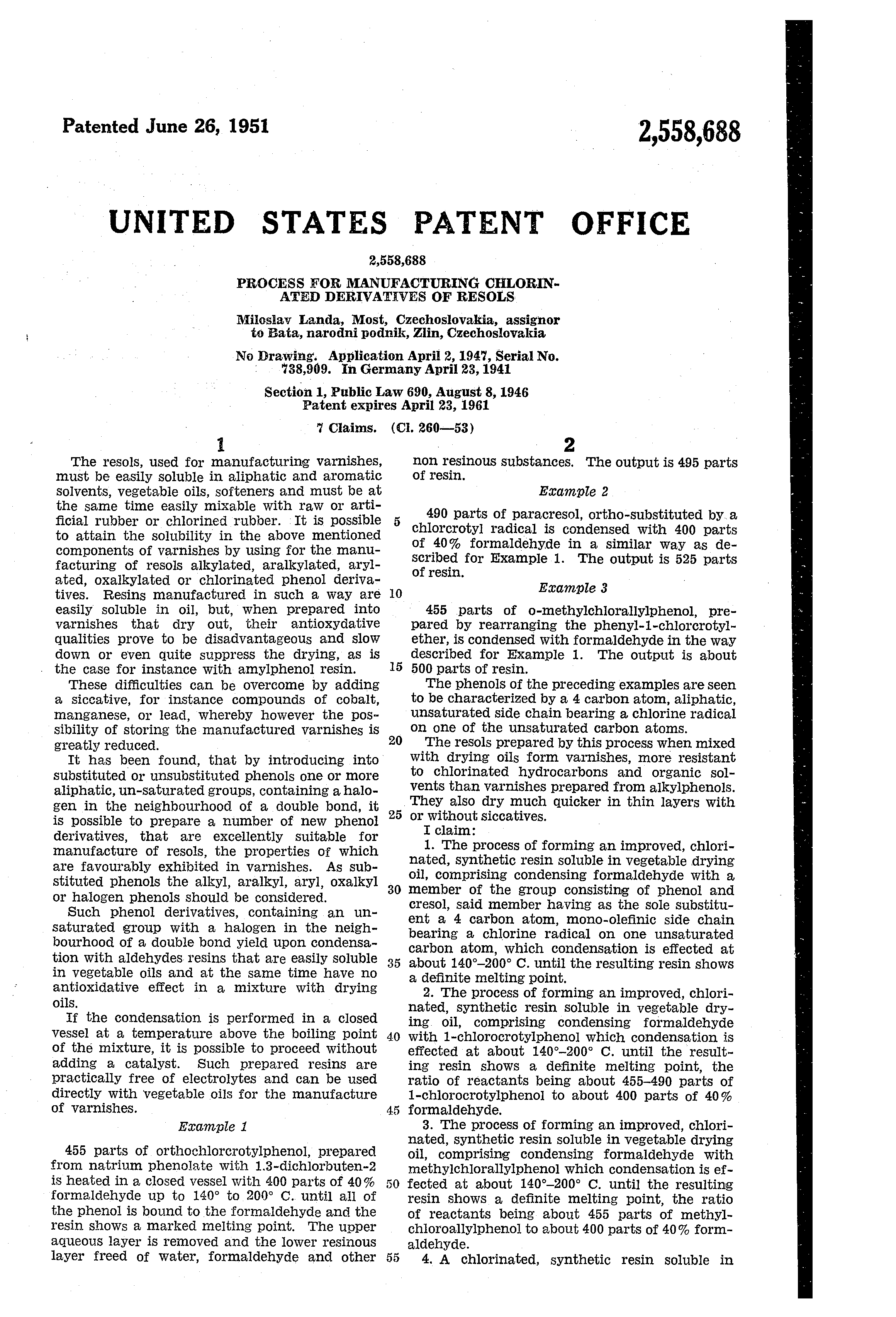 patent us process for manufacturing chlorinated  patent drawing