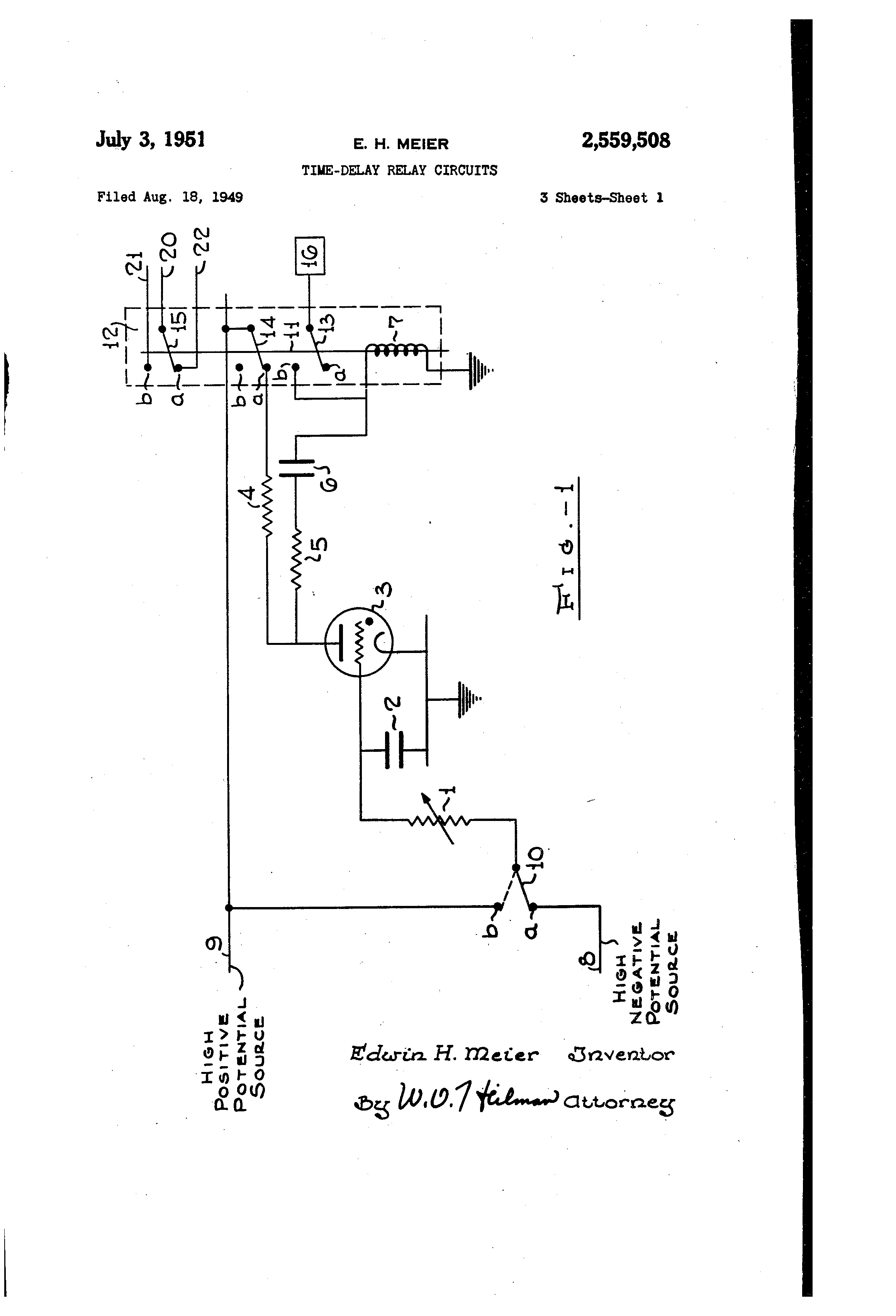 Brevet Us2559508 Time Delay Relay Circuits Google Brevets Circuit Design Patent Drawing