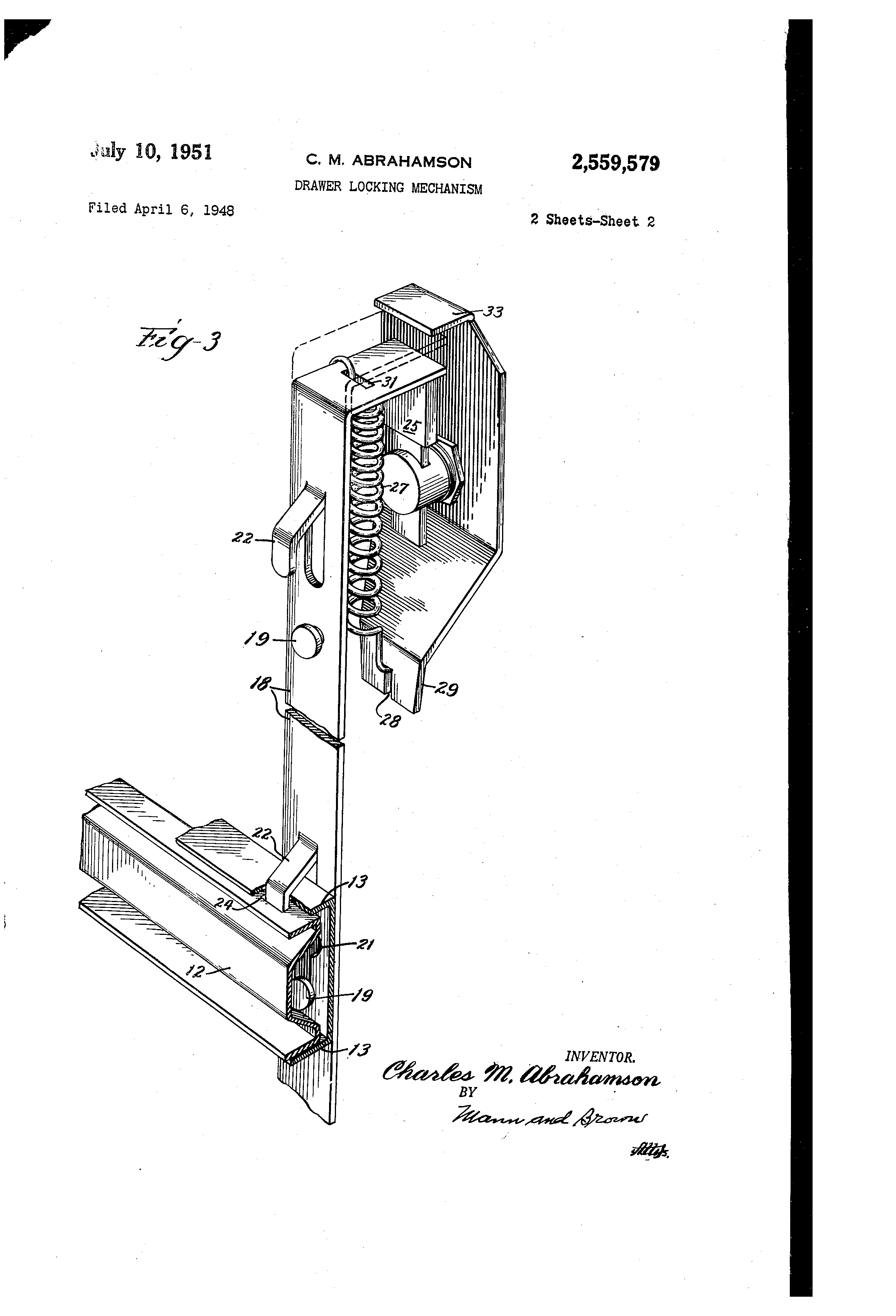 Patent Us2559579 Drawer Locking Mechanism Google Patents