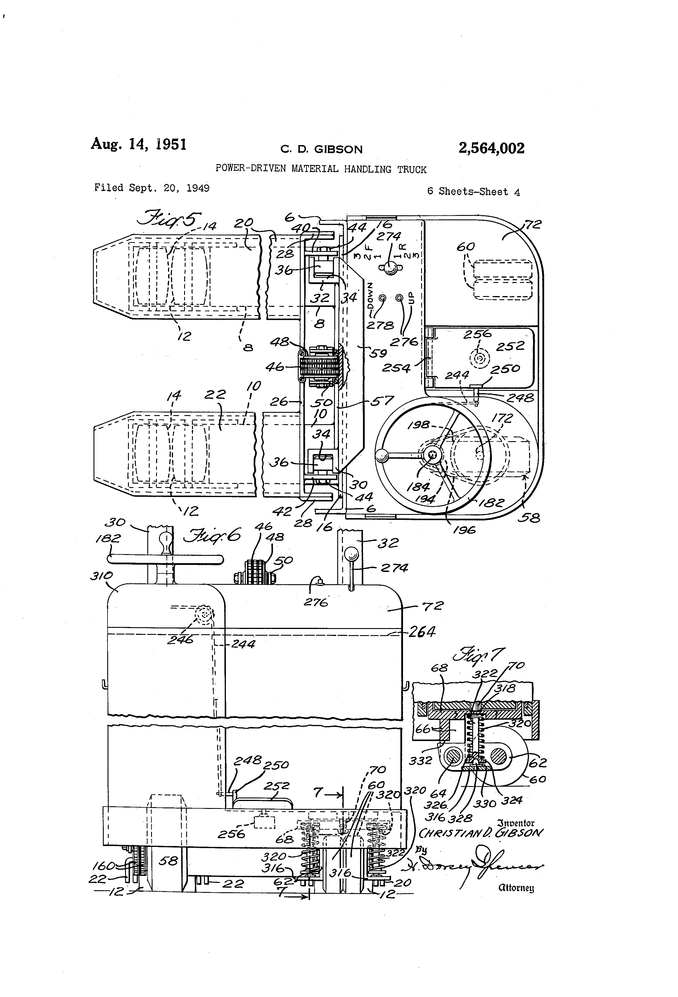 patent us2564002 - power-driven material handling truck