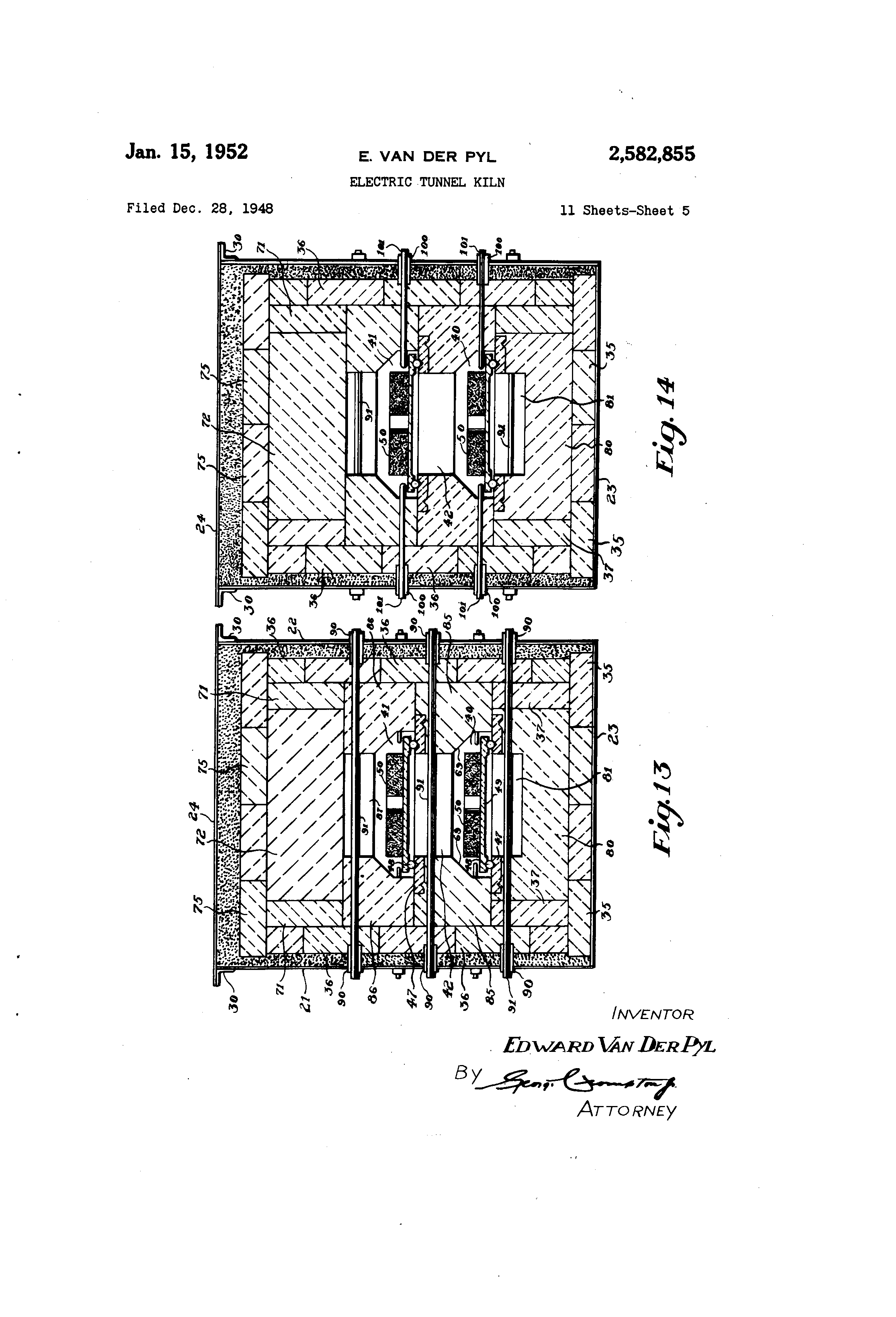 patent us2582855 electric tunnel kiln google patents patent drawing