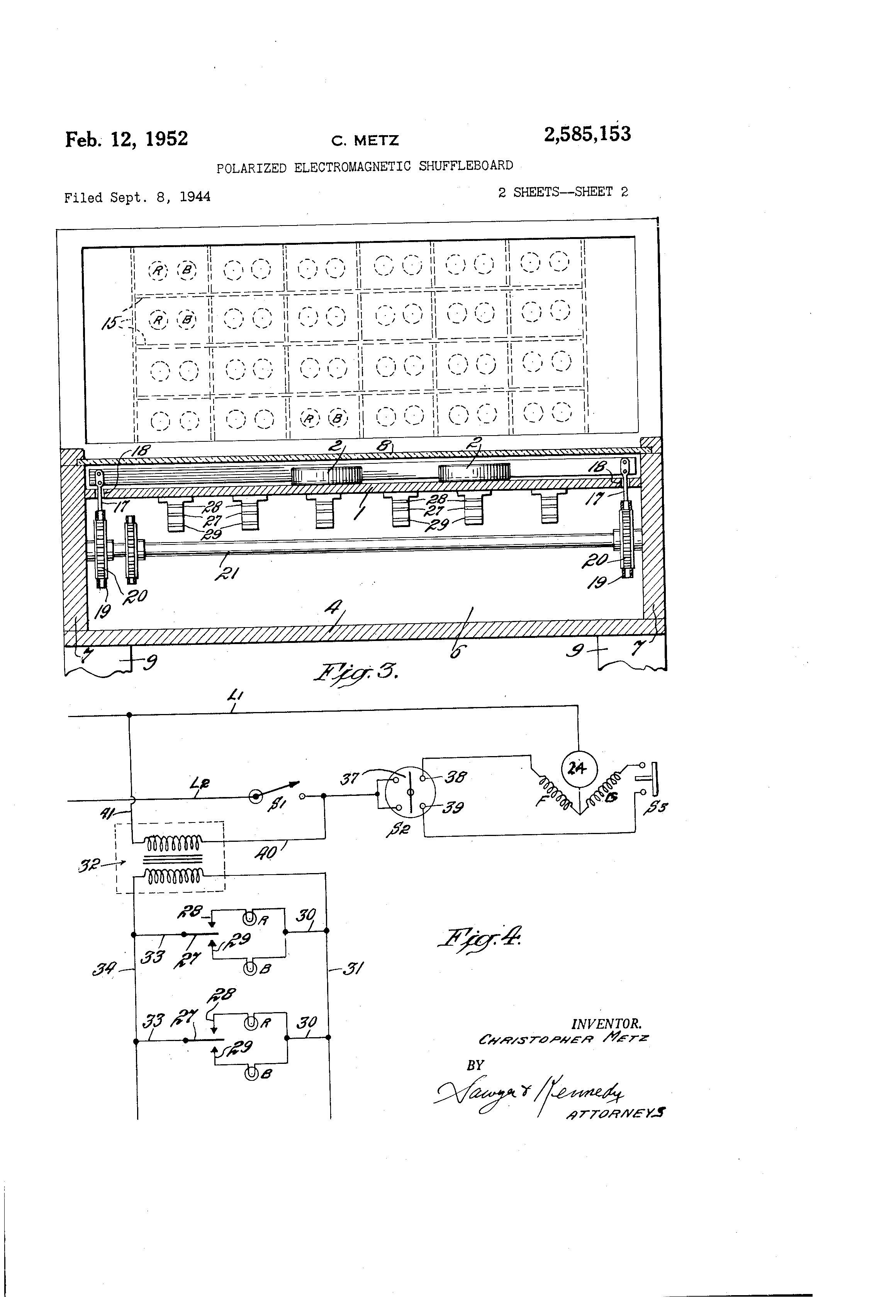 US2585153 1 patent us2585153 polarized electromagnetic shuffleboard google american shuffleboard wiring diagram at soozxer.org