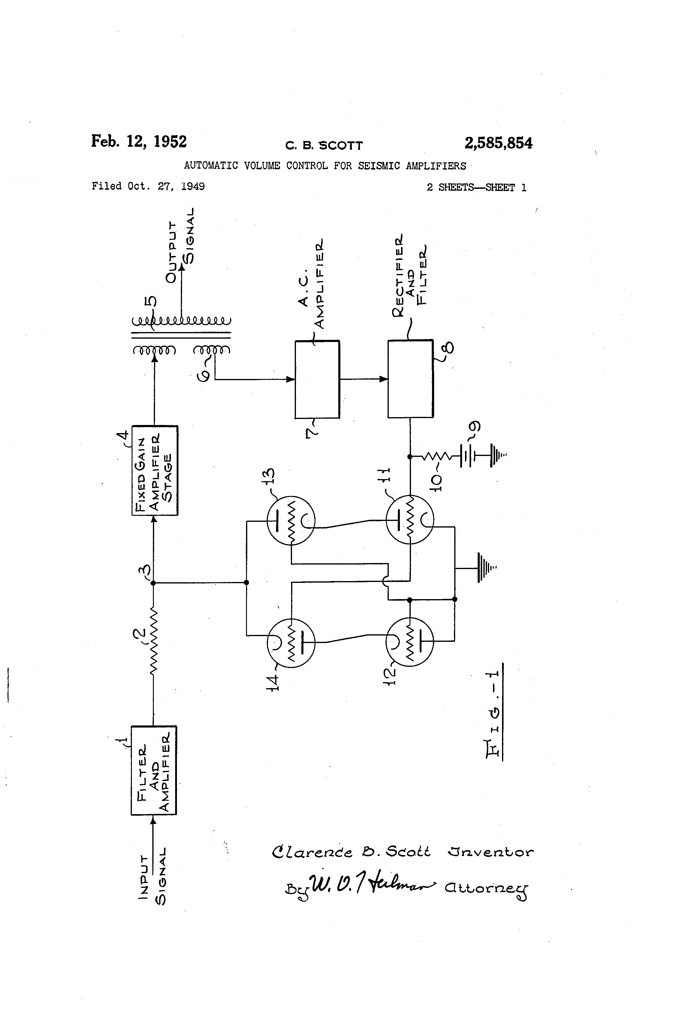 Patent US2585854 - Automatic volume control for seismic