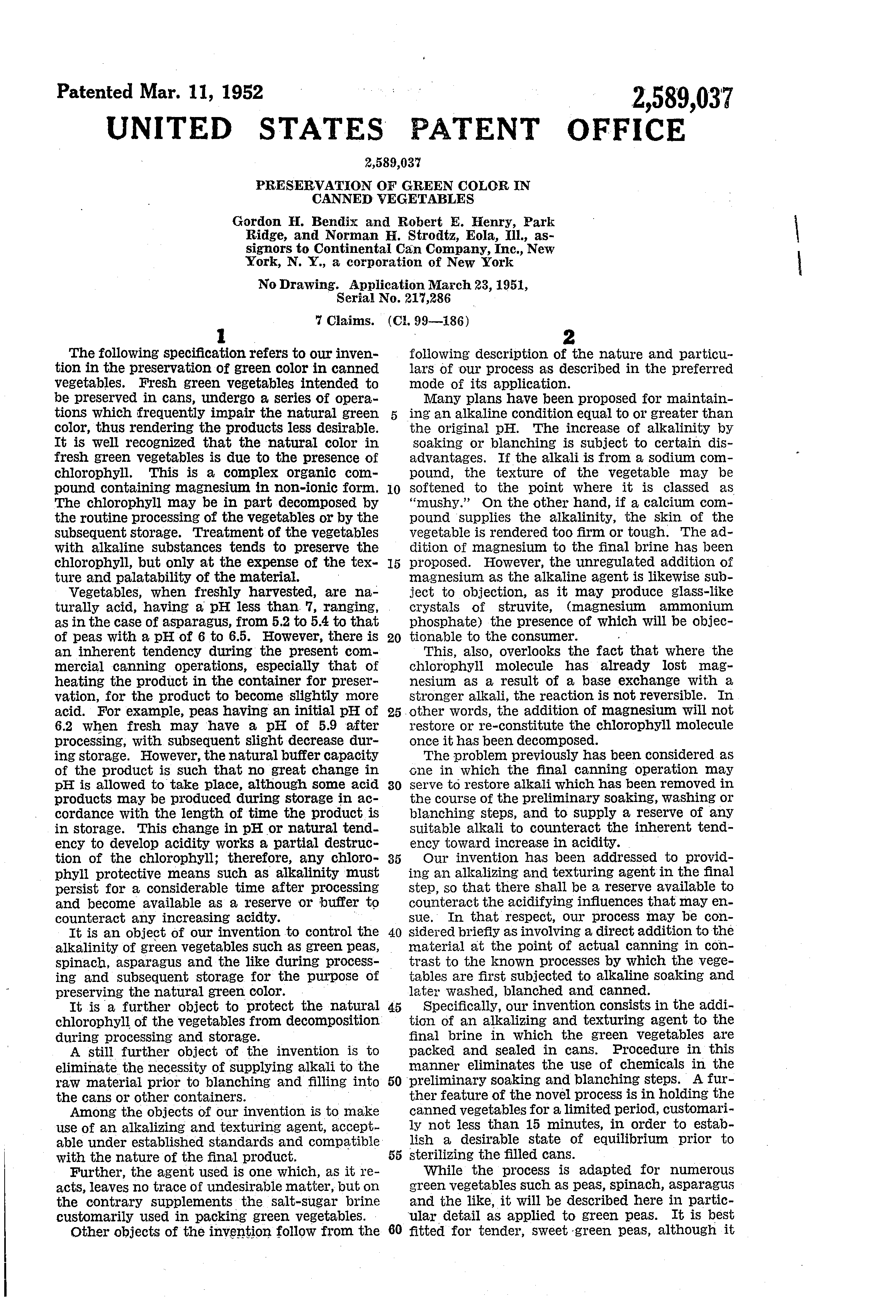 patent us2589037 preservation of green color in canned