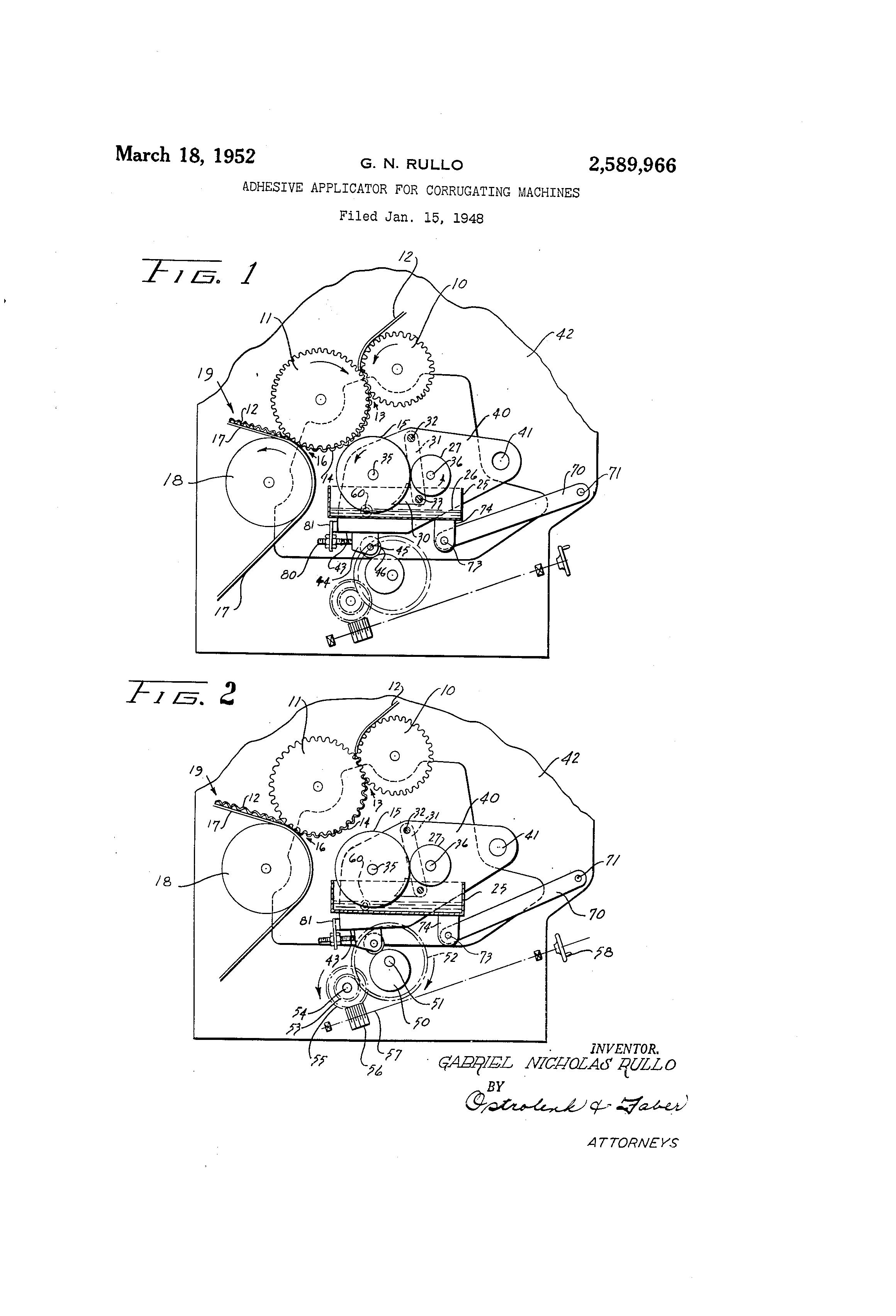 Patent US2589966 - Adhesive applicator for corrugating