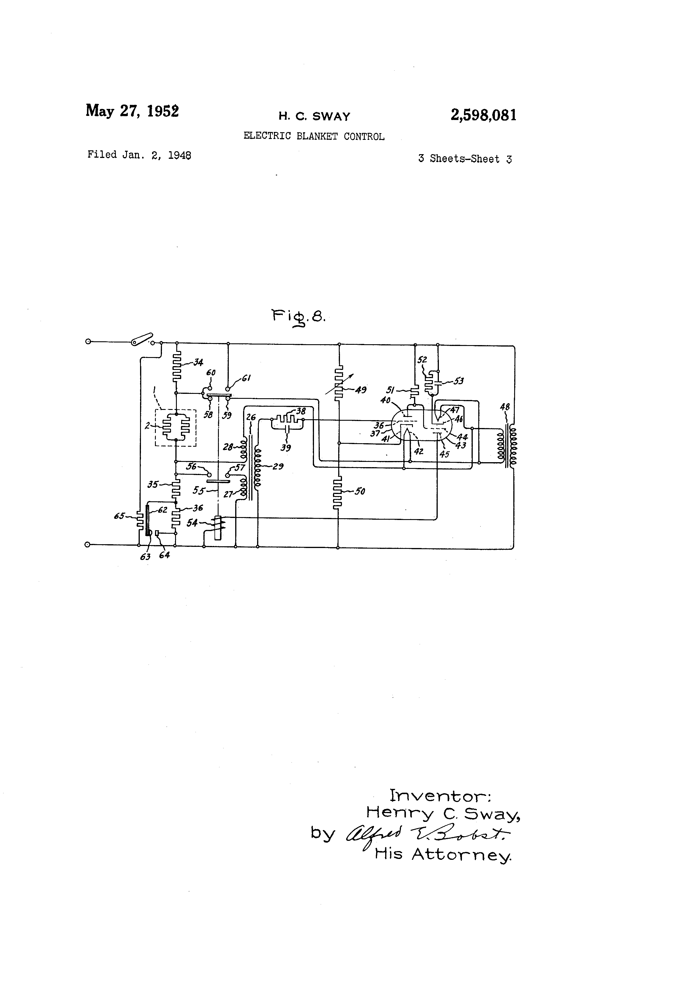 Patent Us2598081 Electric Blanket Control Google Patents Turnedabout Electrical Setup And Wiring Drawing