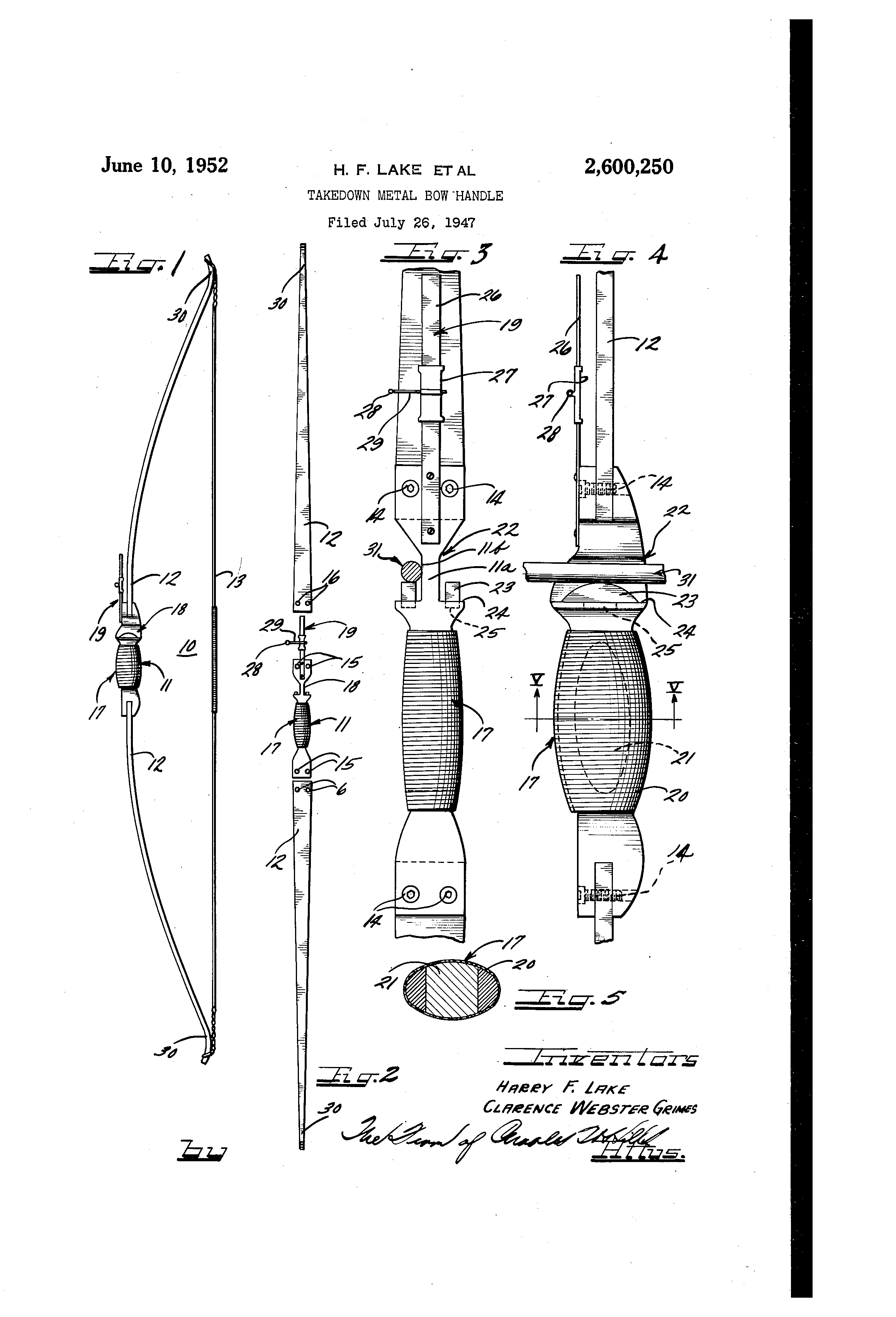 patent us2600250 - takedown metal bow handle