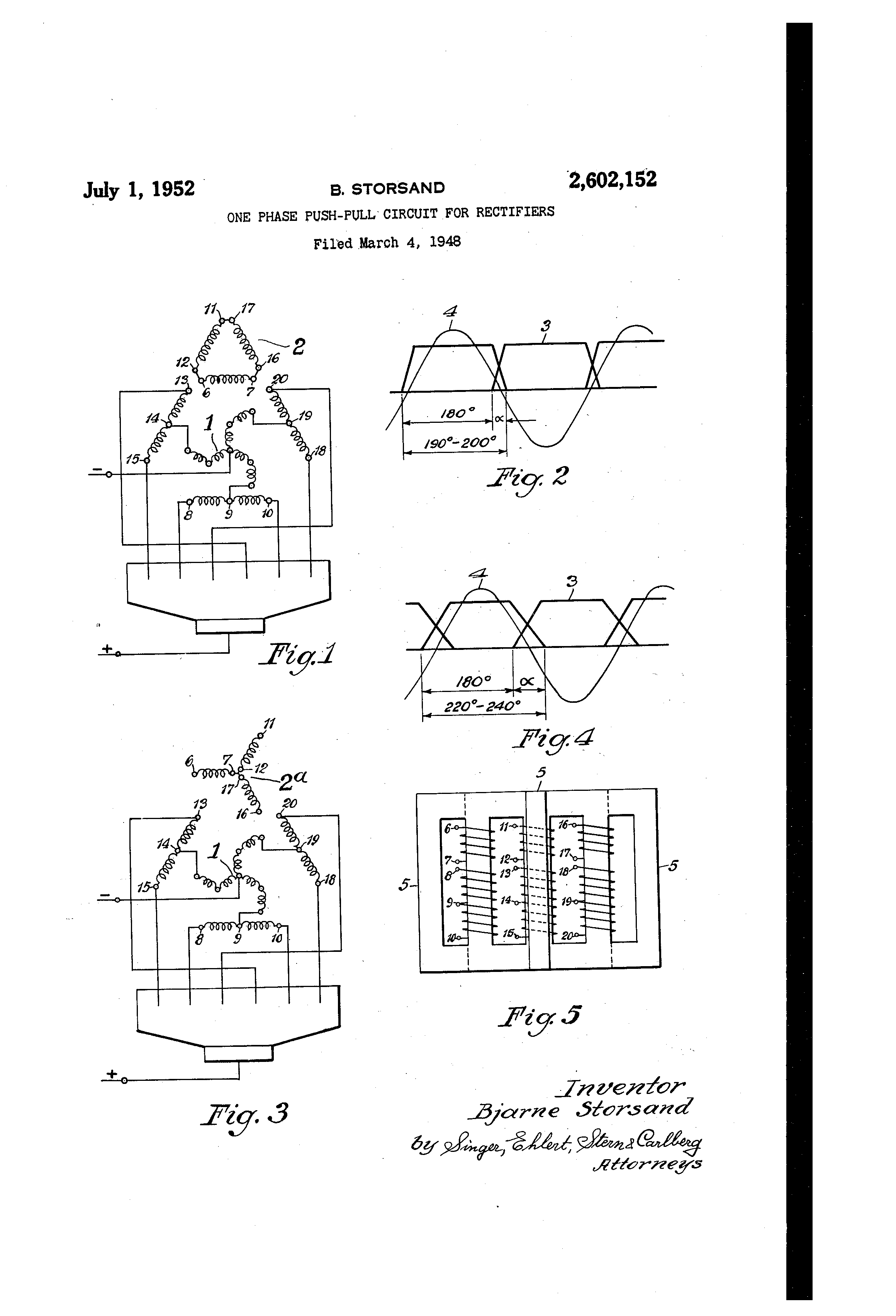 Patent Us2602152 One Phase Push Pull Circuit For Rectifiers Of A Sixphase Star Rectifier This Drawing