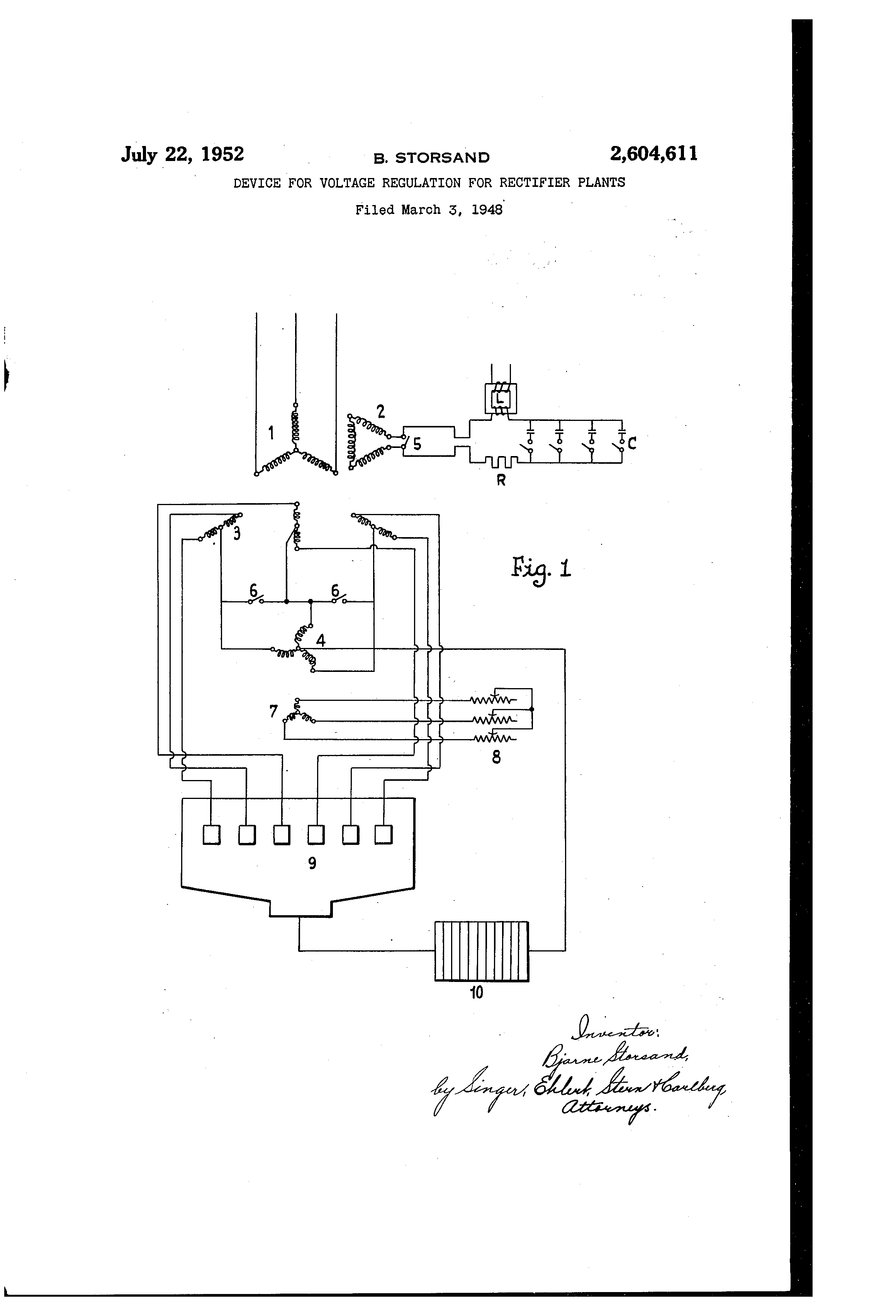 Patent Us2604611 Device For Voltage Regulation Rectifier Of A Sixphase Star Circuit This Drawing