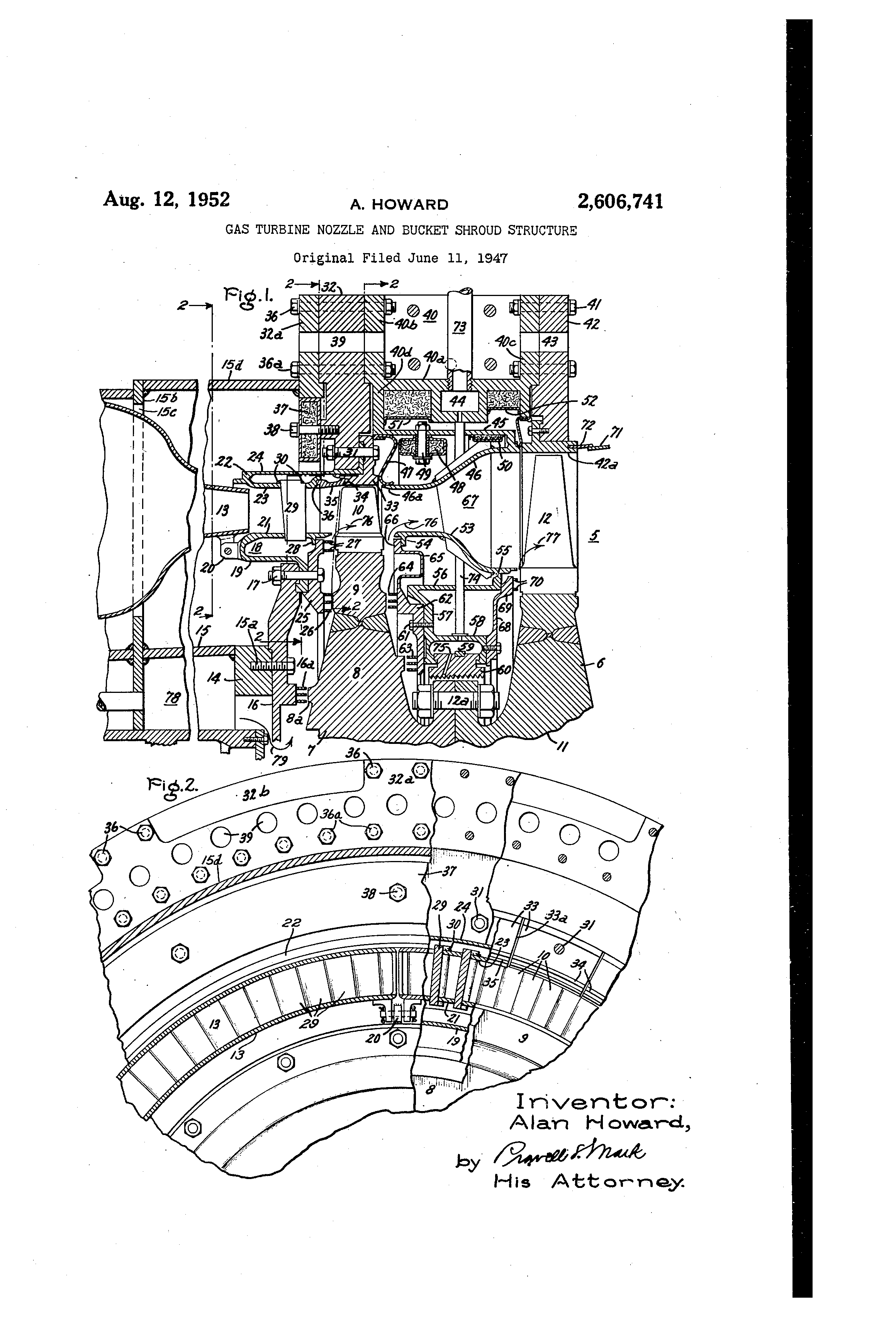 Patent US Gas turbine nozzle and bucket shroud structure