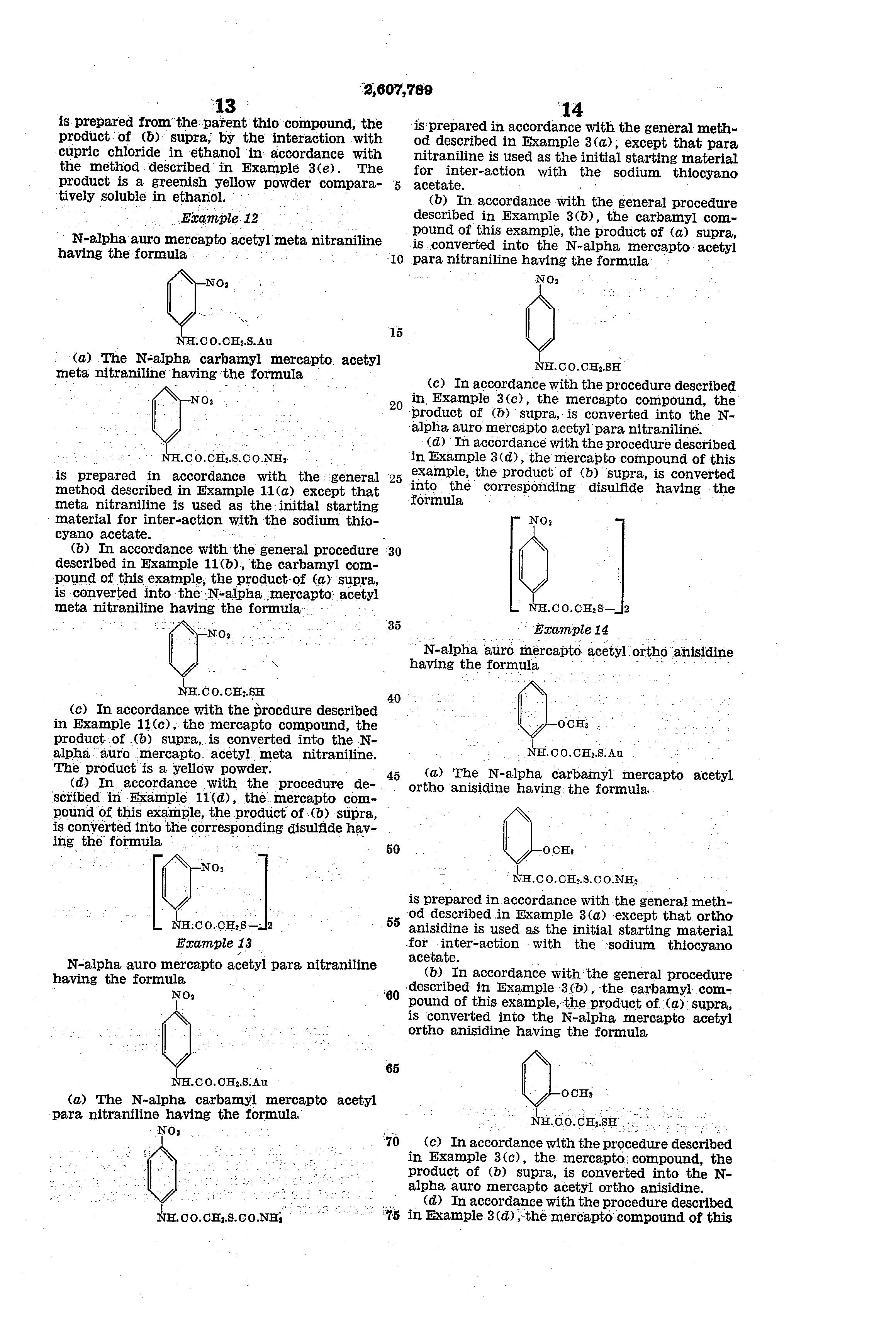 Patent US2607789 - N-alpha mercapto acetyl amino aryl