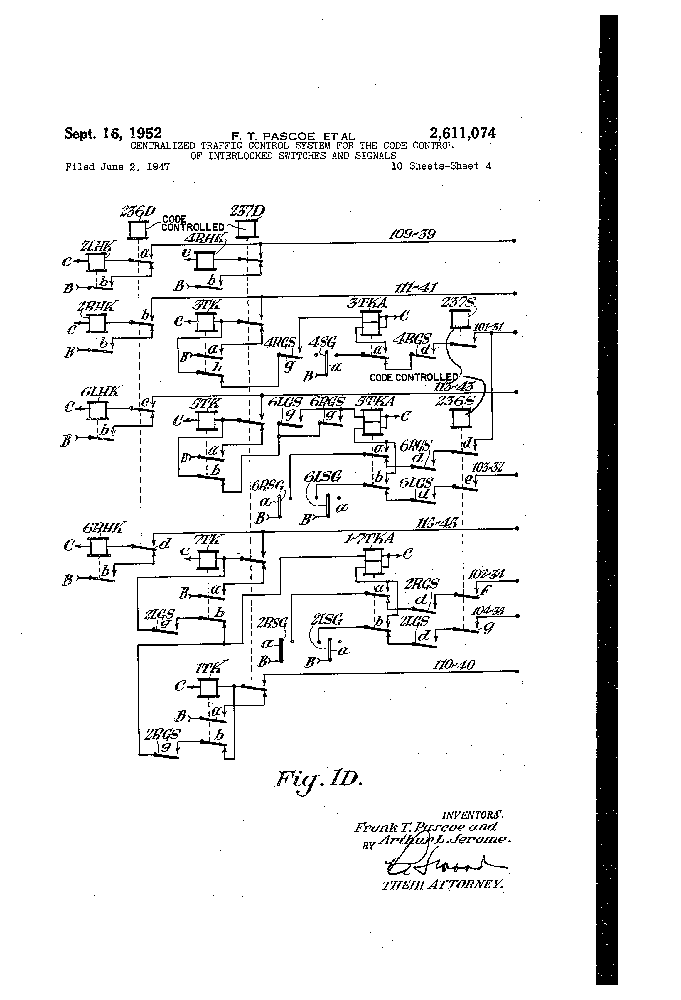 patent us2611074 centralized traffic control system for the code USDM ITR patent drawing