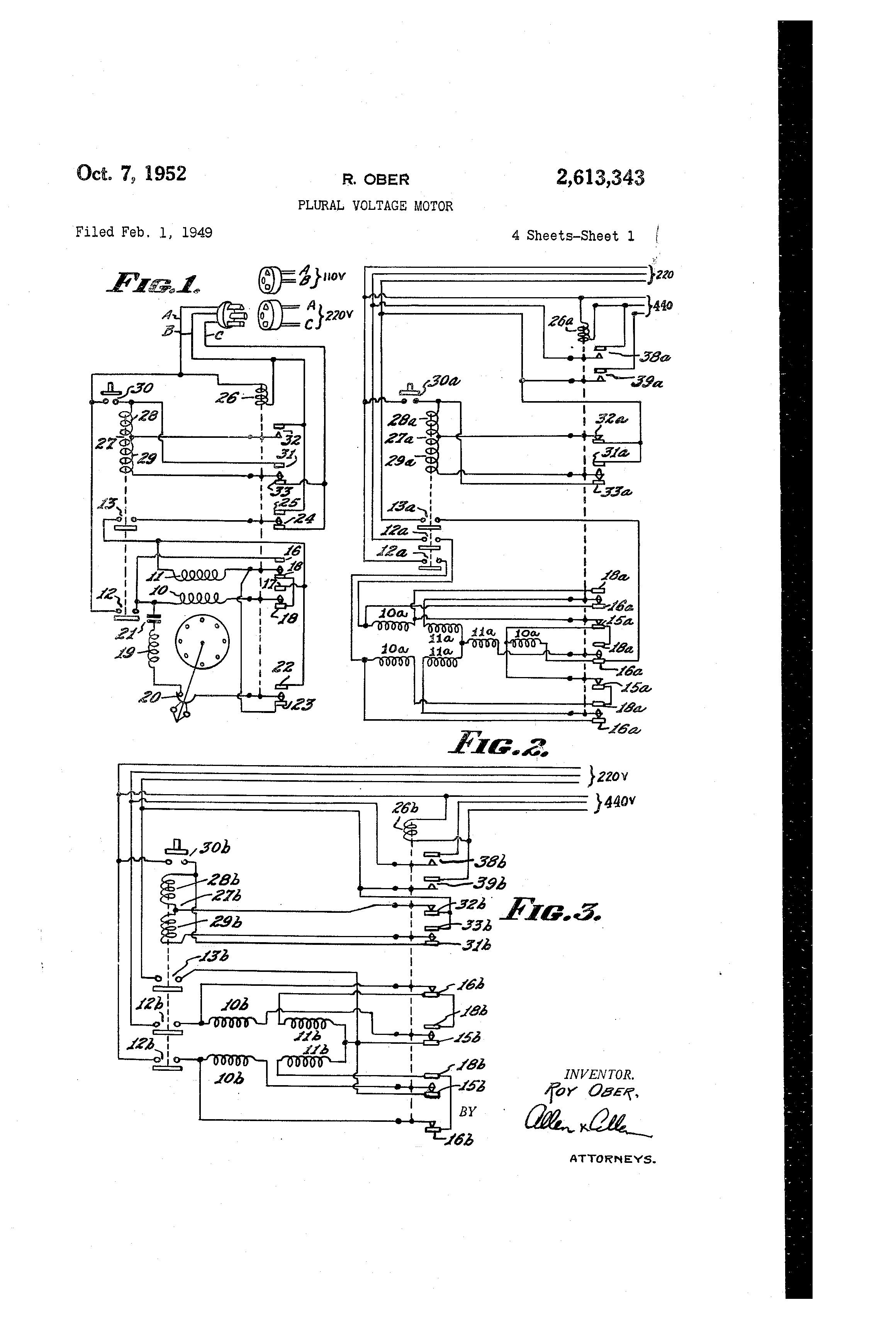 patent us2613343 - plural voltage motor