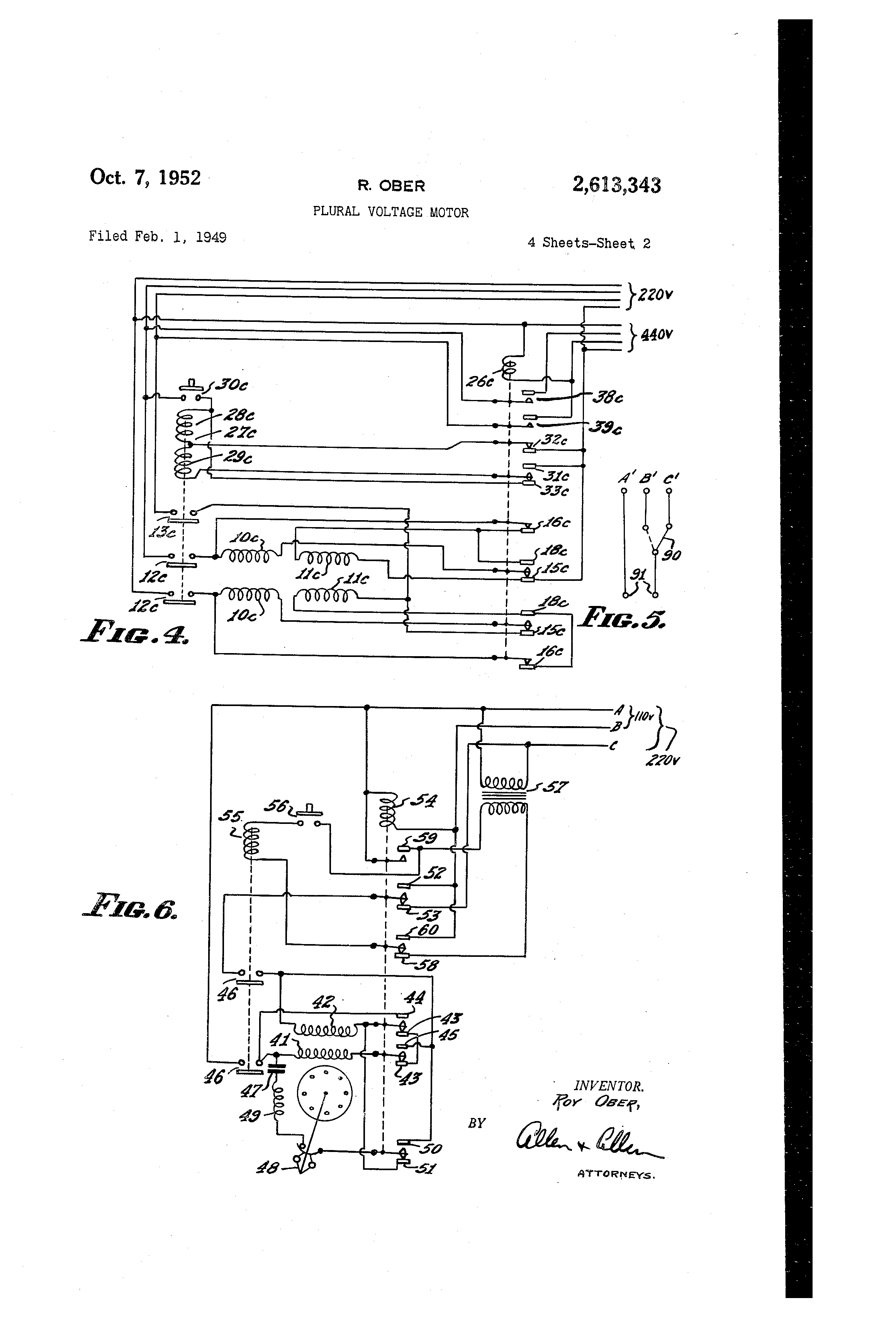 US2613343 1 patent us2613343 plural voltage motor google patents robbins and myers fan motor wiring diagram at crackthecode.co