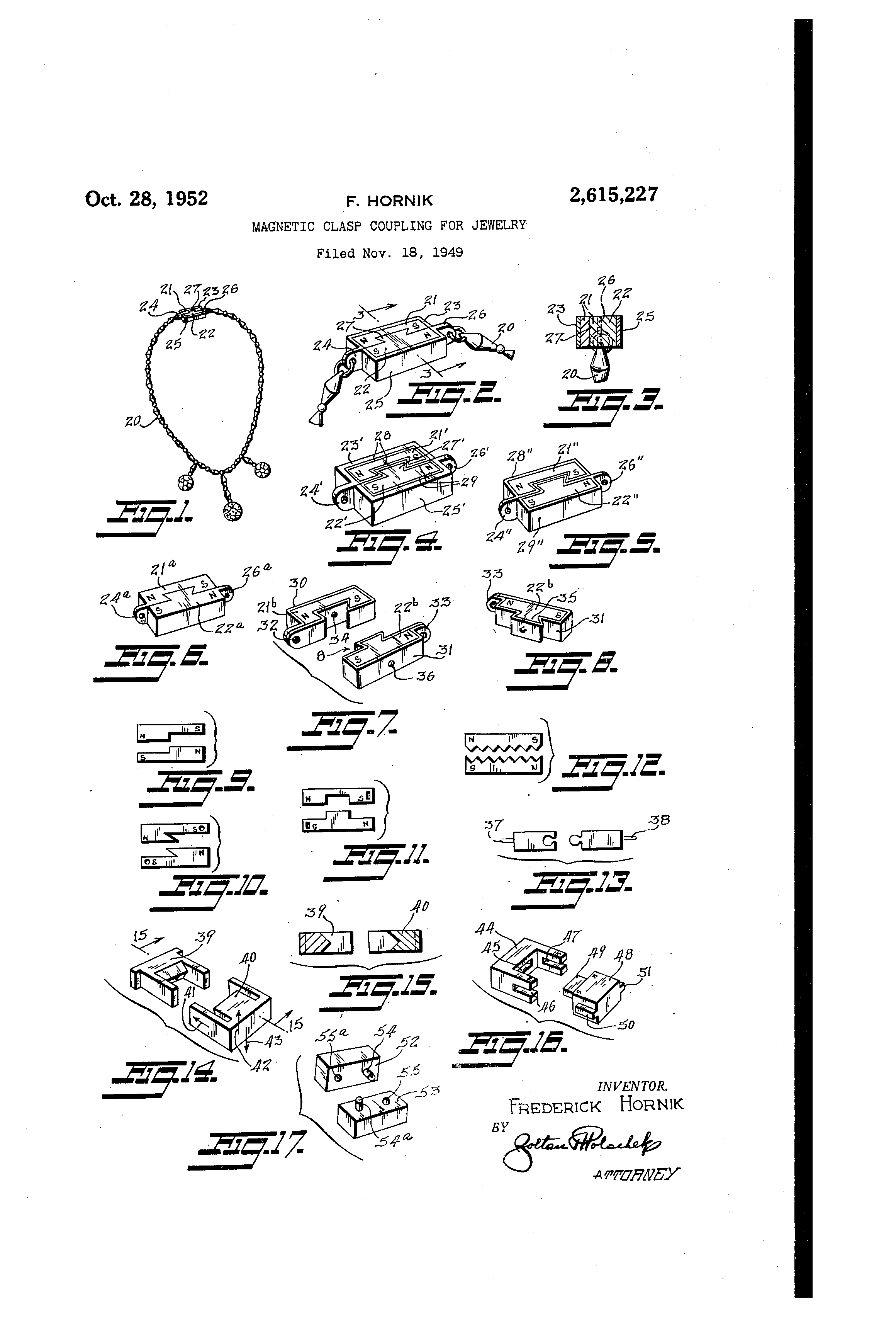 Patent Us2615227 Magnetic Clasp Coupling For Jewelry Google