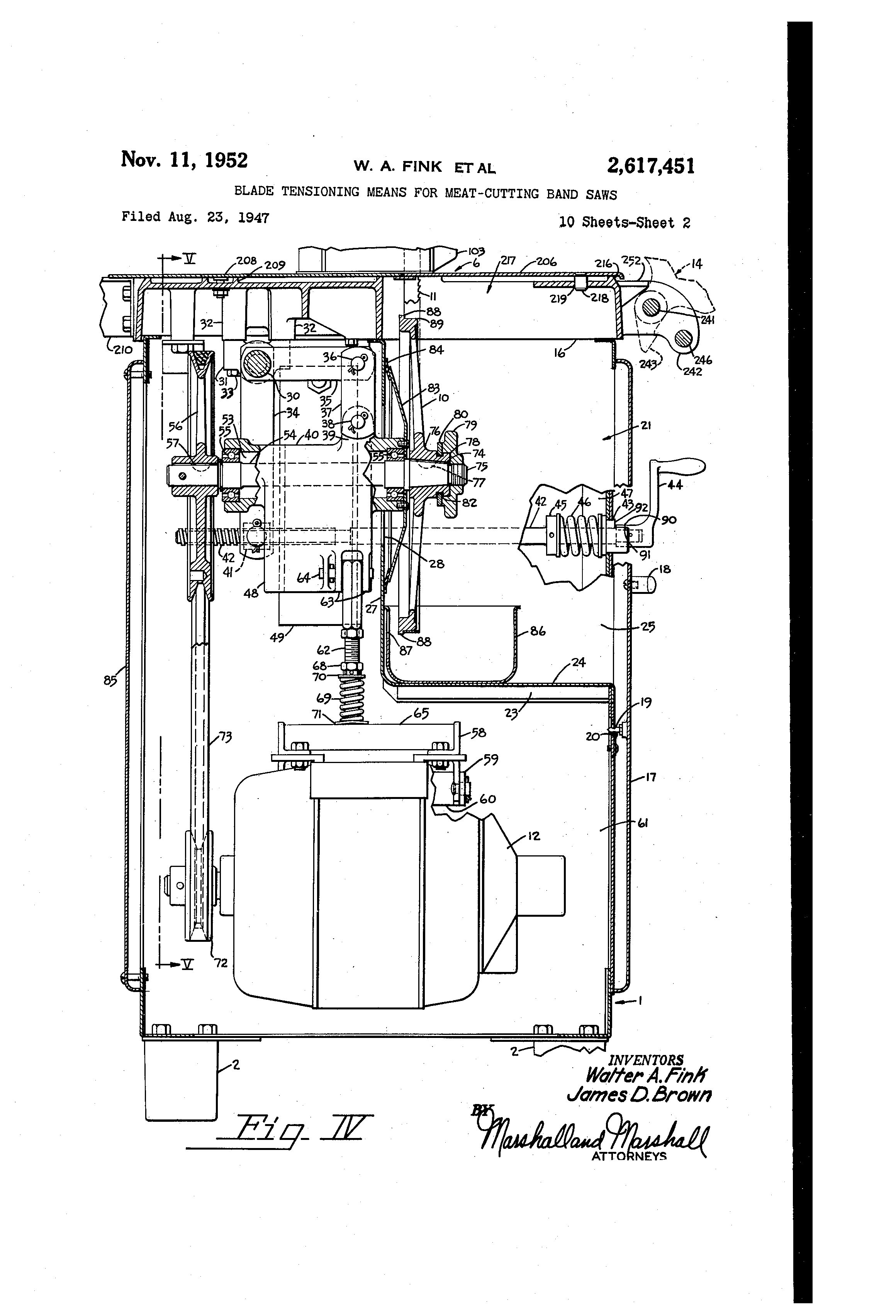 patent us2617451 - blade tensioning means for meat-cutting band saws