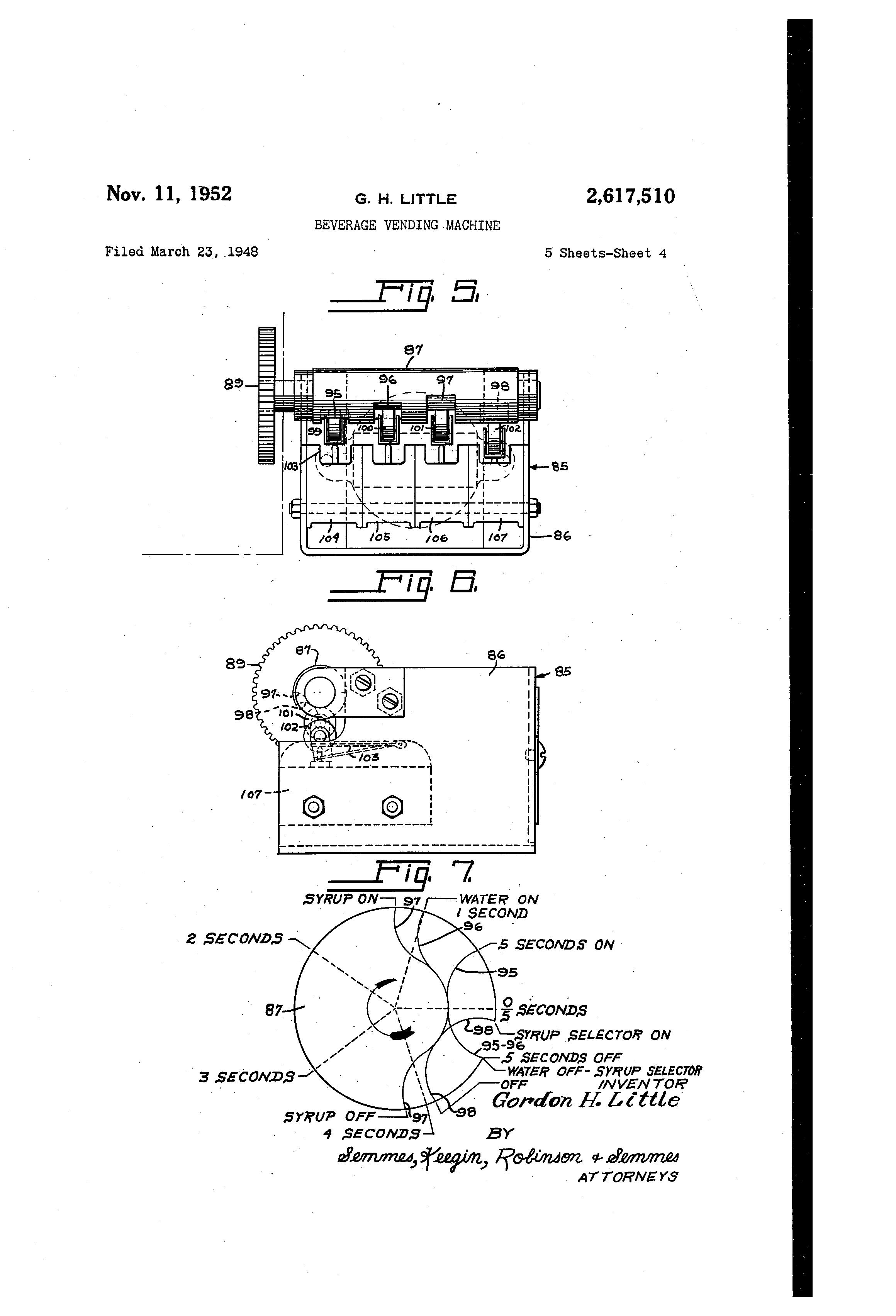 patent us2617510 - beverage vending machine