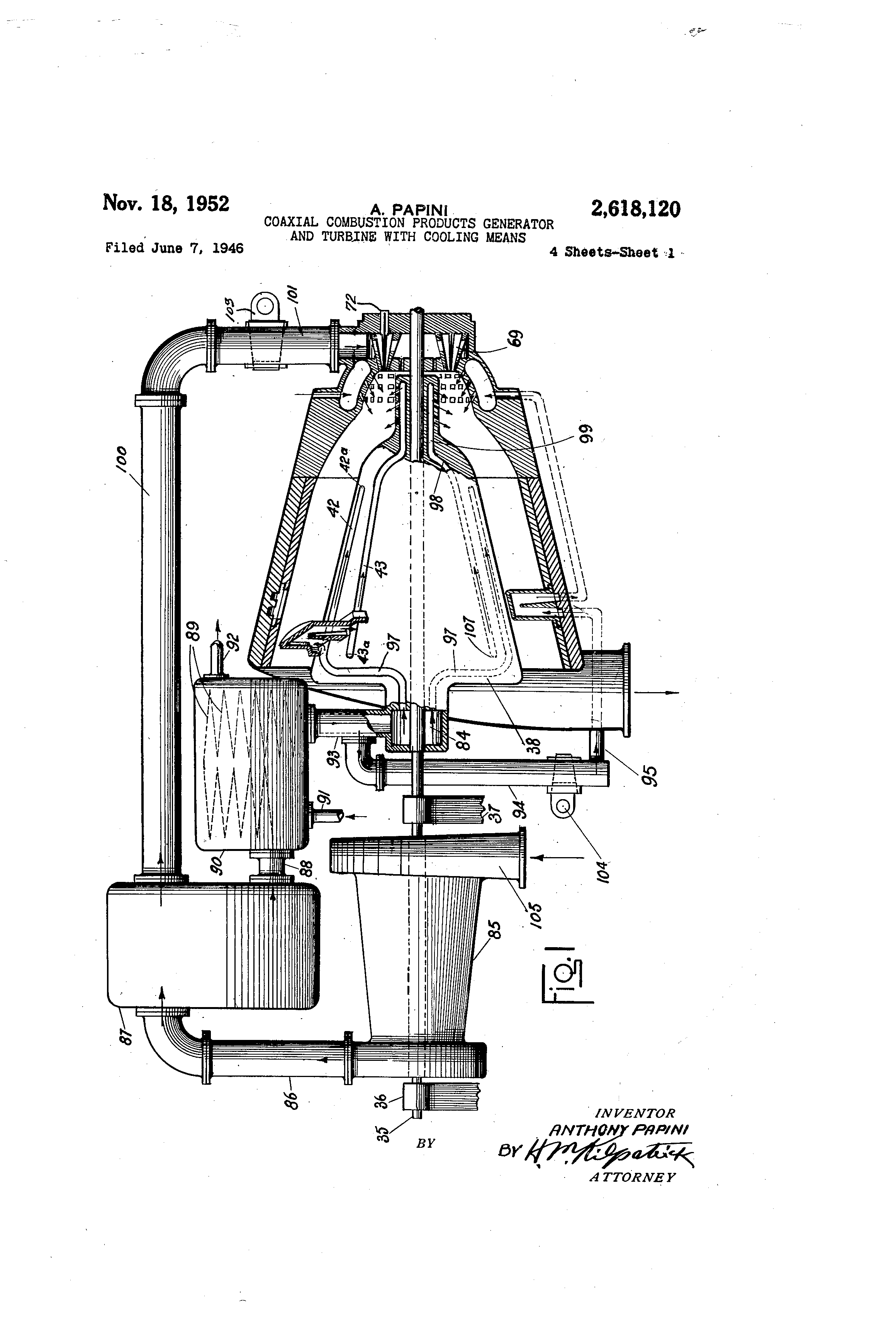 Patent US Coaxial bustion products generator and