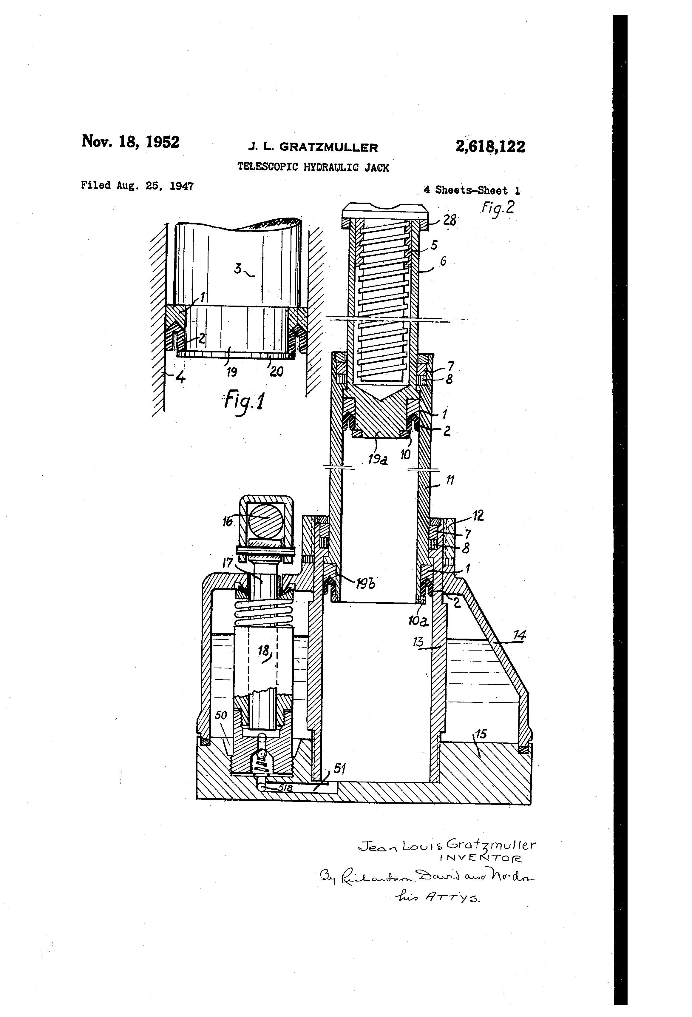 Patent Us2618122 - Telescopic Hydraulic Jack
