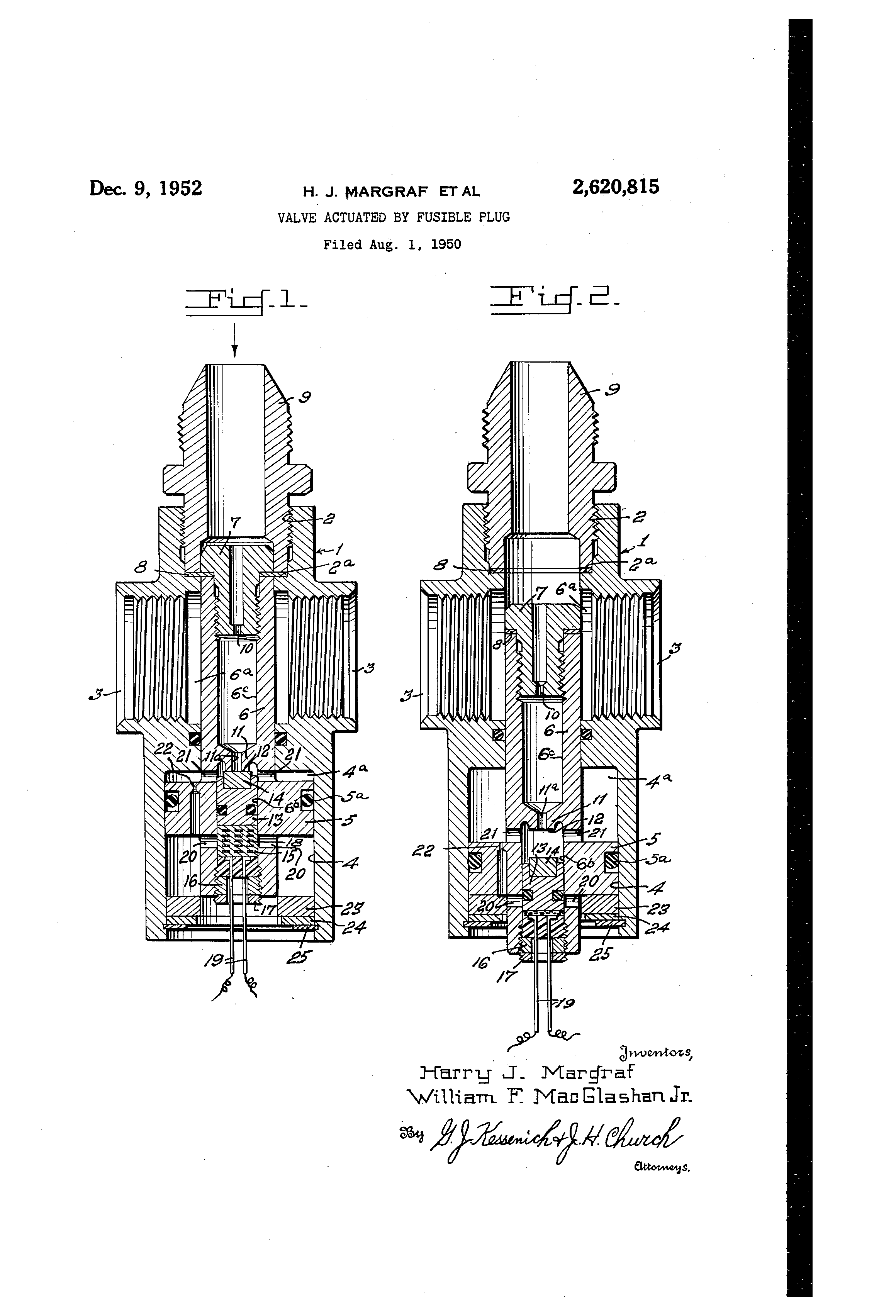 Patent US2620815 - Valve actuated by fusible plug - Google Patents