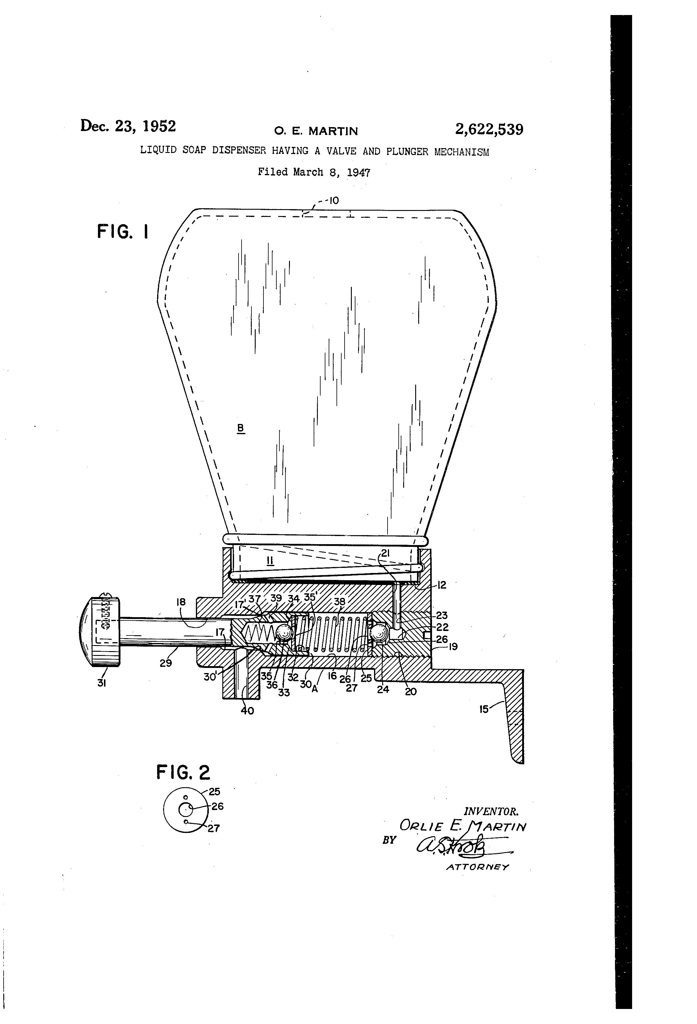 Patent Us2622539 Liquid Soap Dispenser Having A Valve