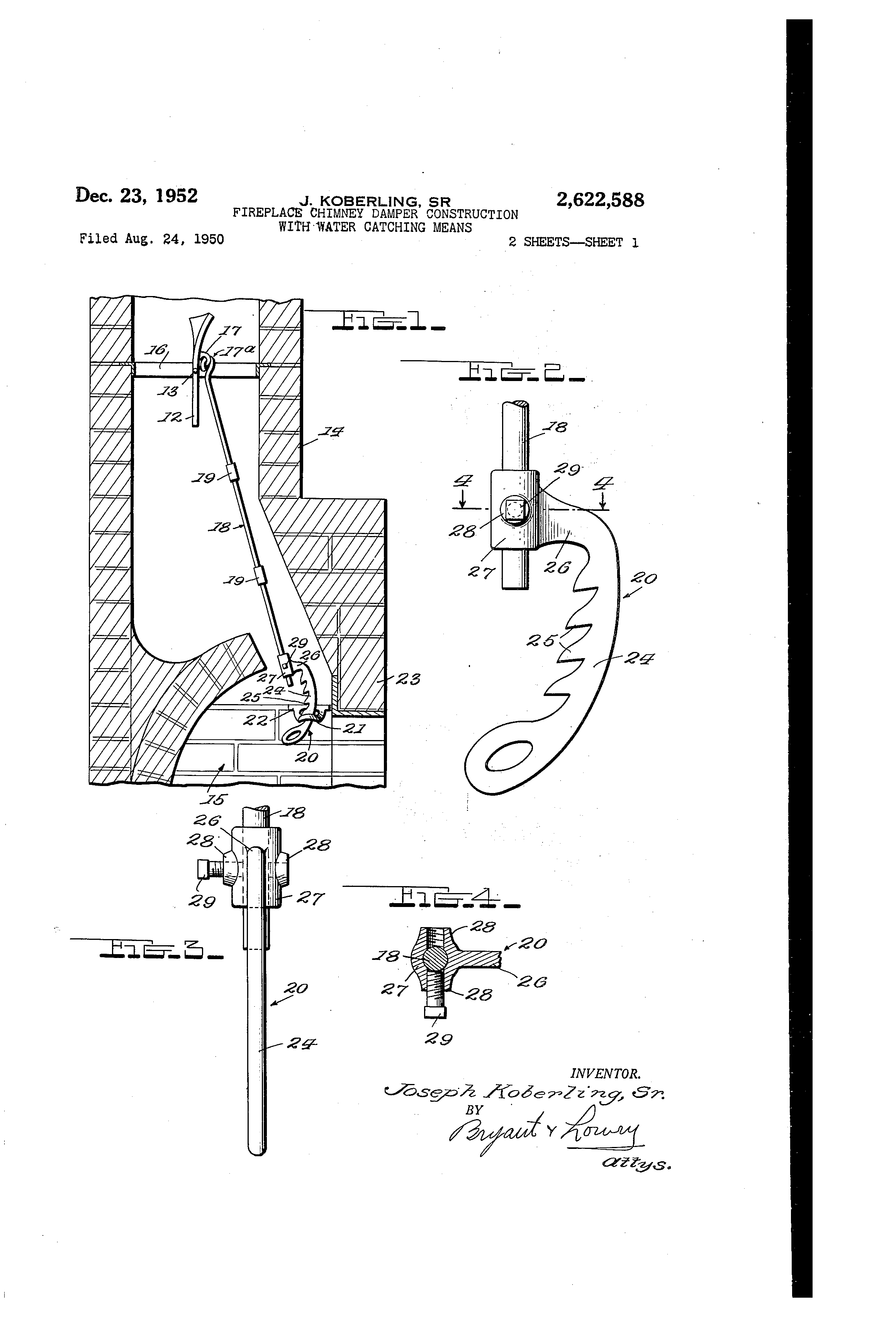 Damper In Fireplace Part - 23: Patent Drawing
