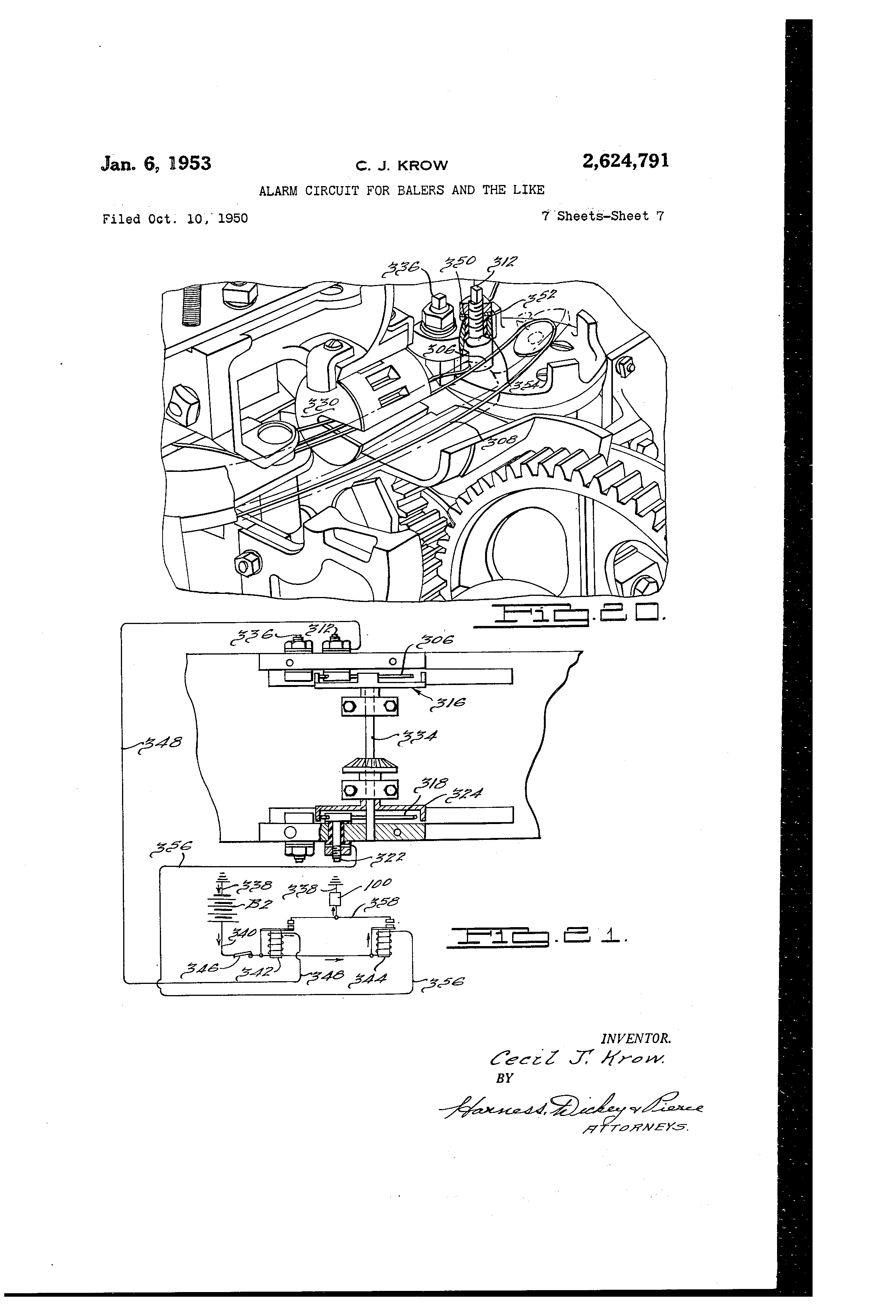 Patent US2624791 - Alarm circuit for balers and the like