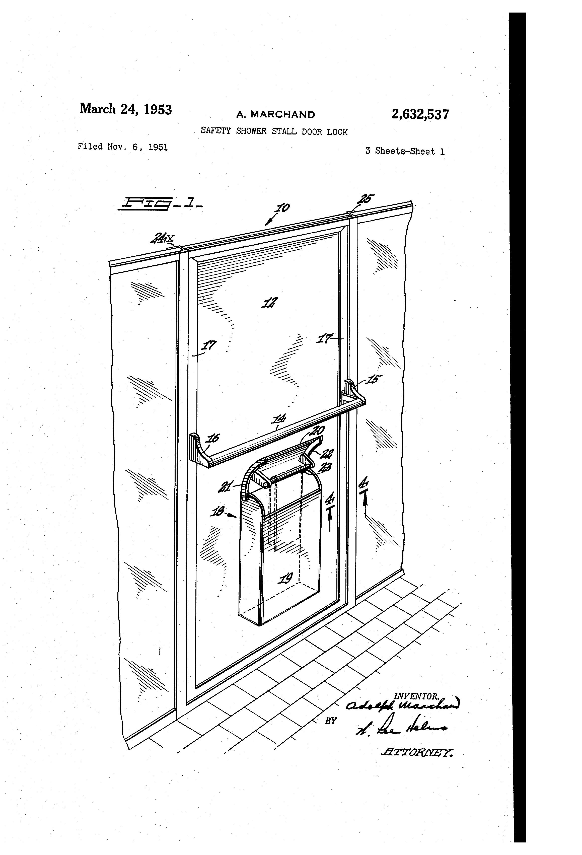 Patent US2632537 - Safety shower stall door lock - Google ...