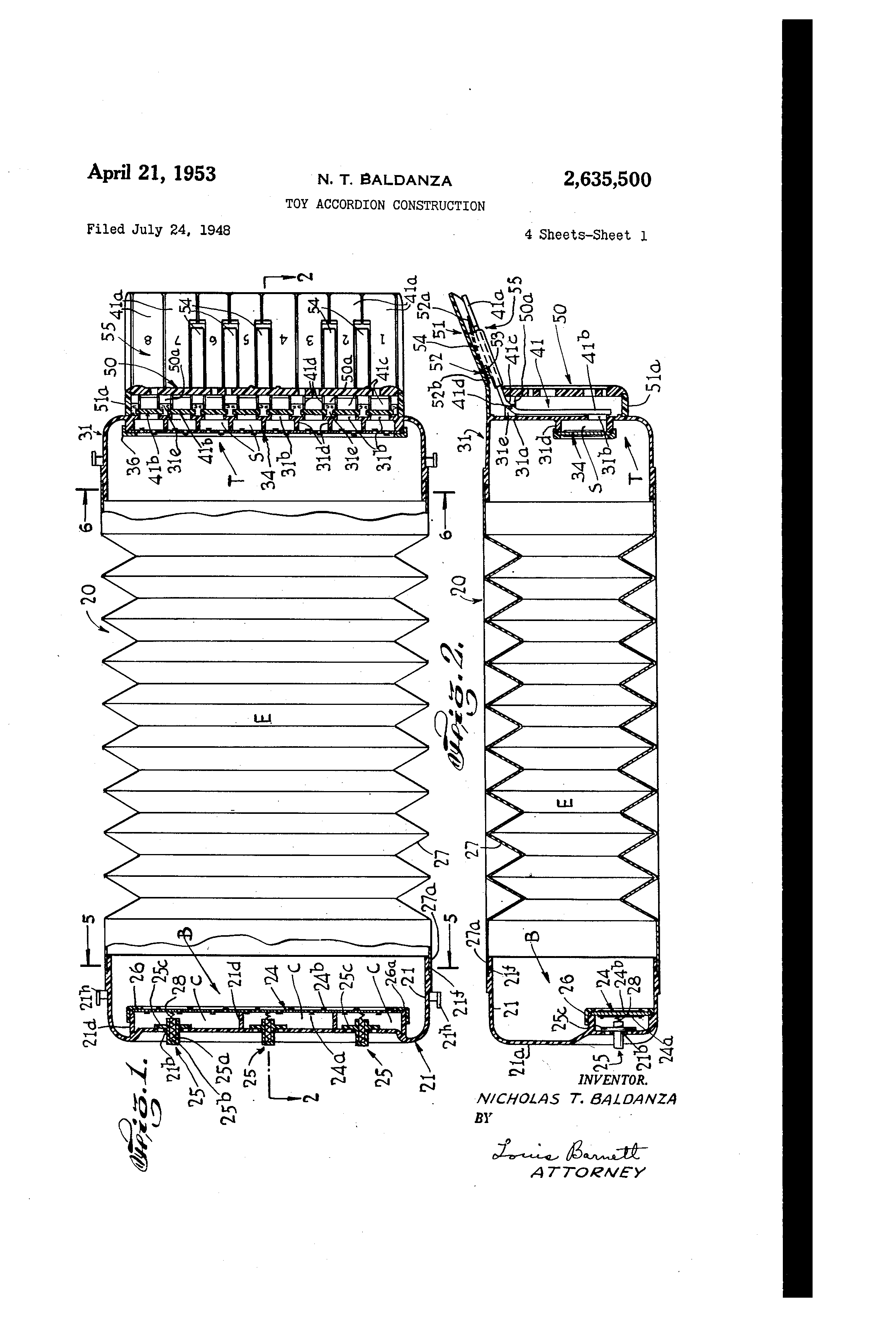 Patent us2635500 toy accordion construction google patents patent drawing hexwebz Choice Image
