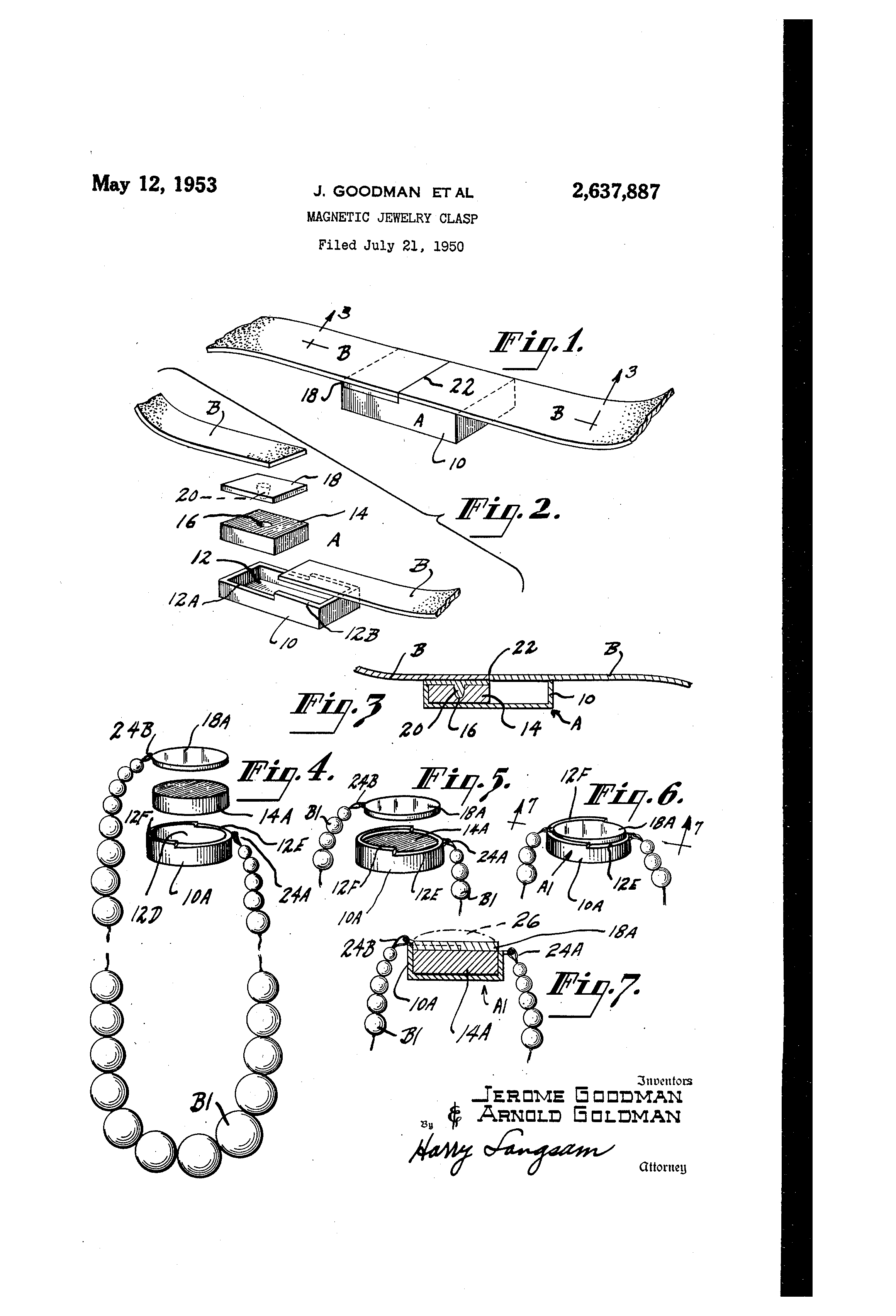 Patent Us2637887 Magnetic Jewelry Clasp Google Patents