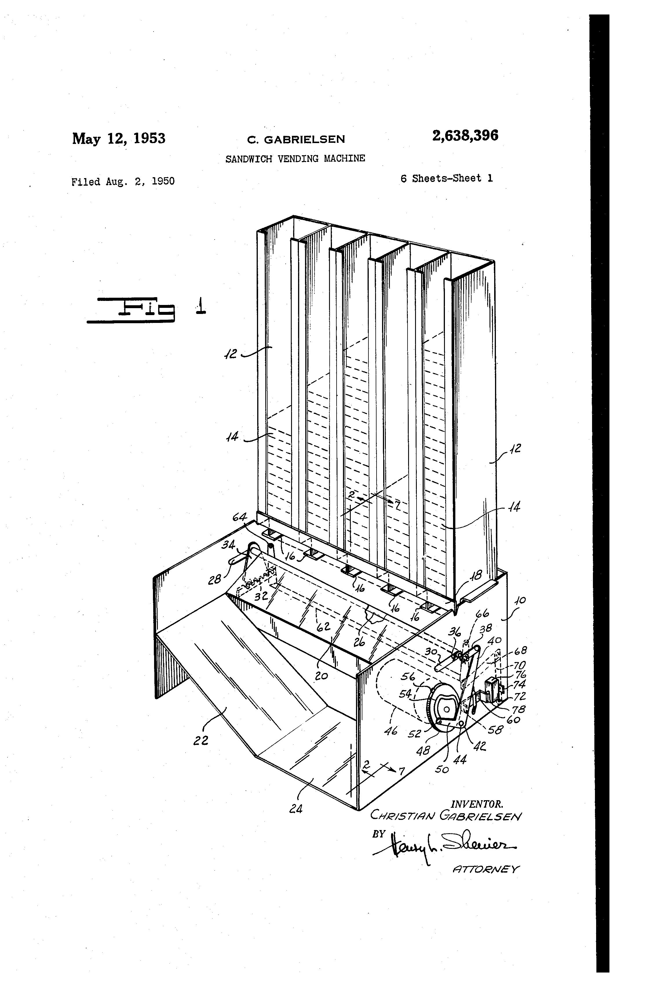 Patent Us2638396 Sandwich Vending Machine Google Patents