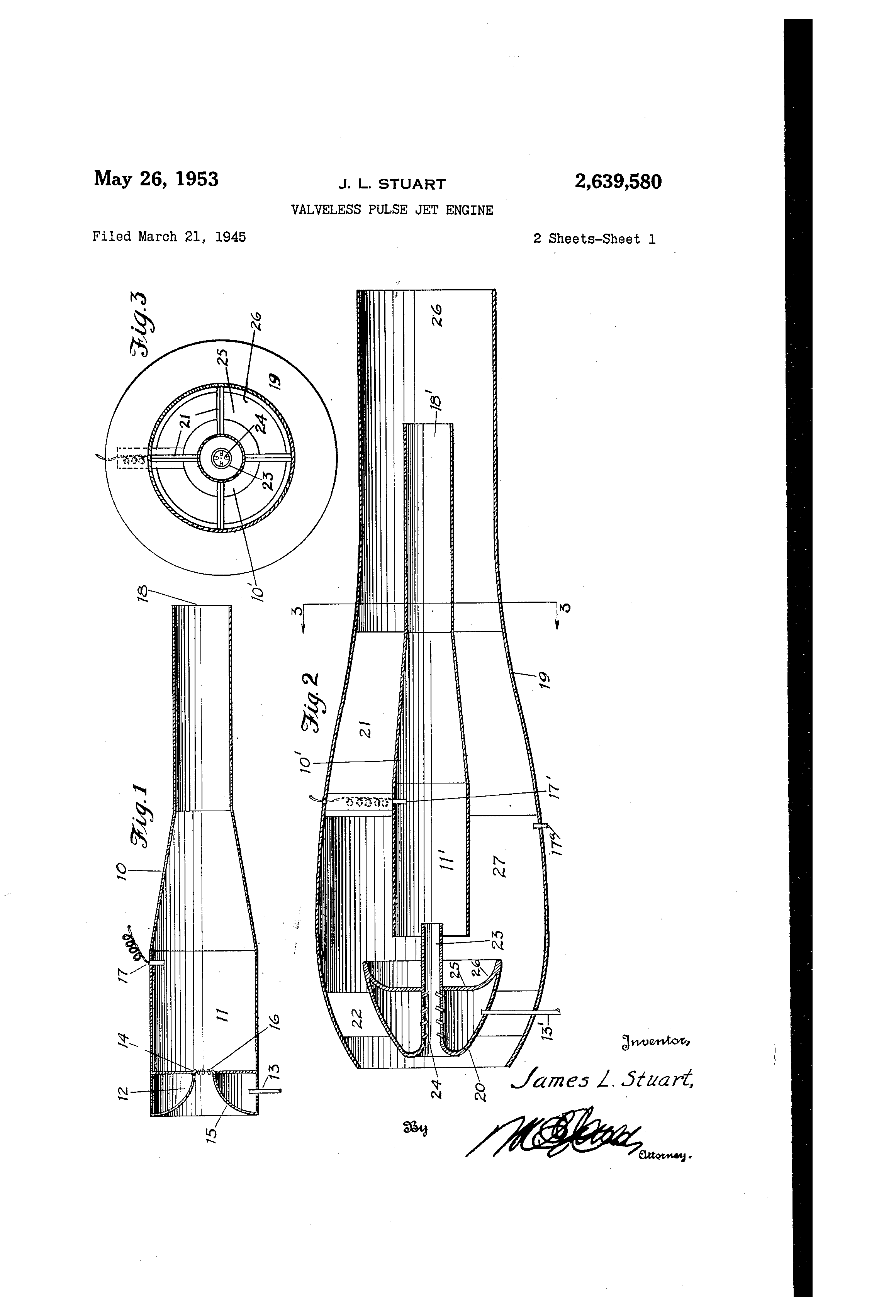 patent us2639580 - valveless pulse jet engine