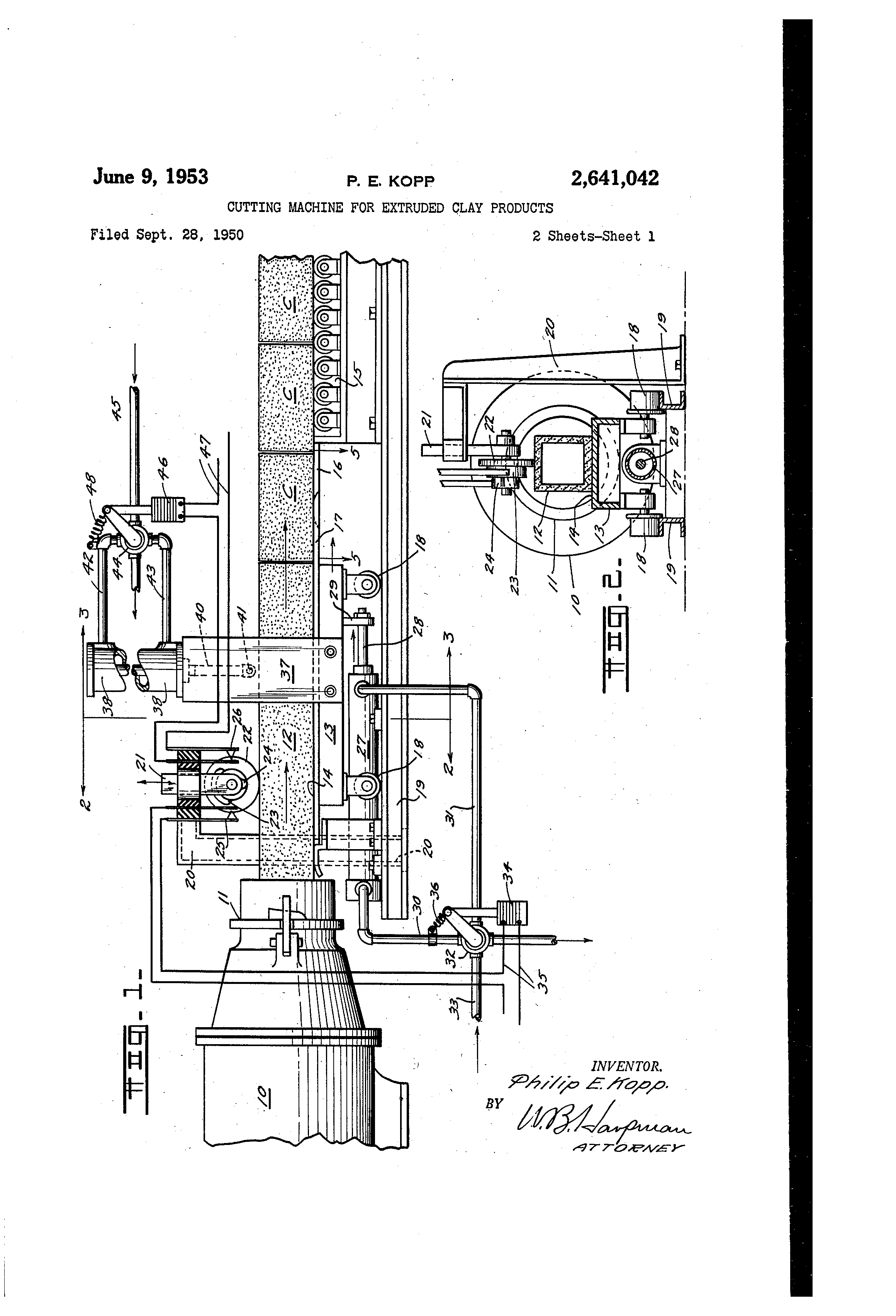 Patent Us2641042 Cutting Machine For Extruded Clay