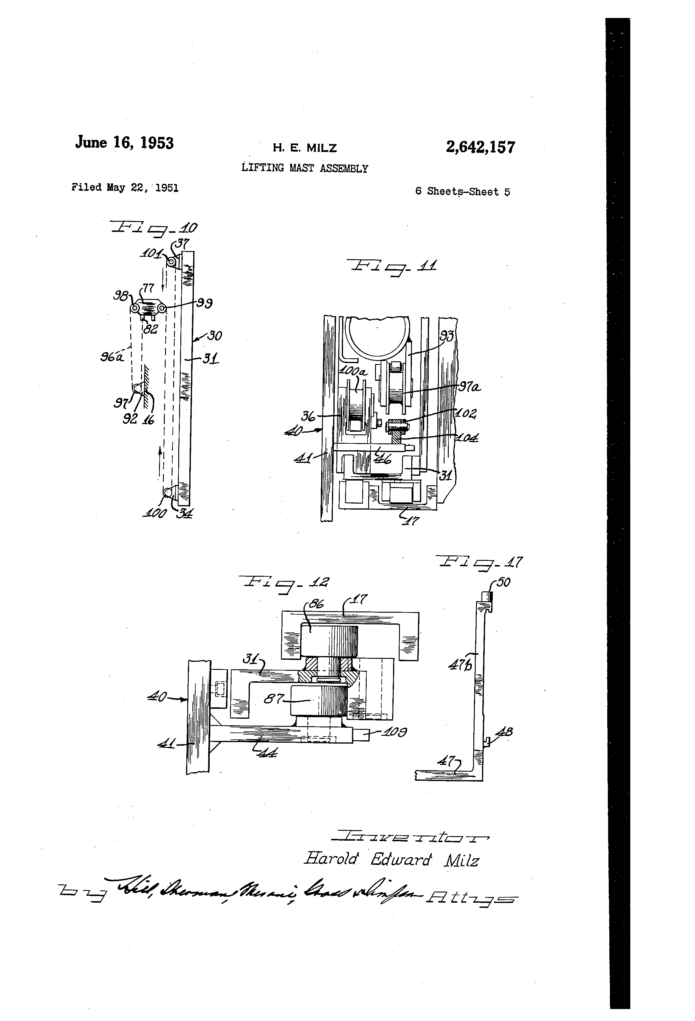US2642157 4 patent us2642157 lifting mast assembly google patents gamewell fire alarm box wiring diagram at edmiracle.co