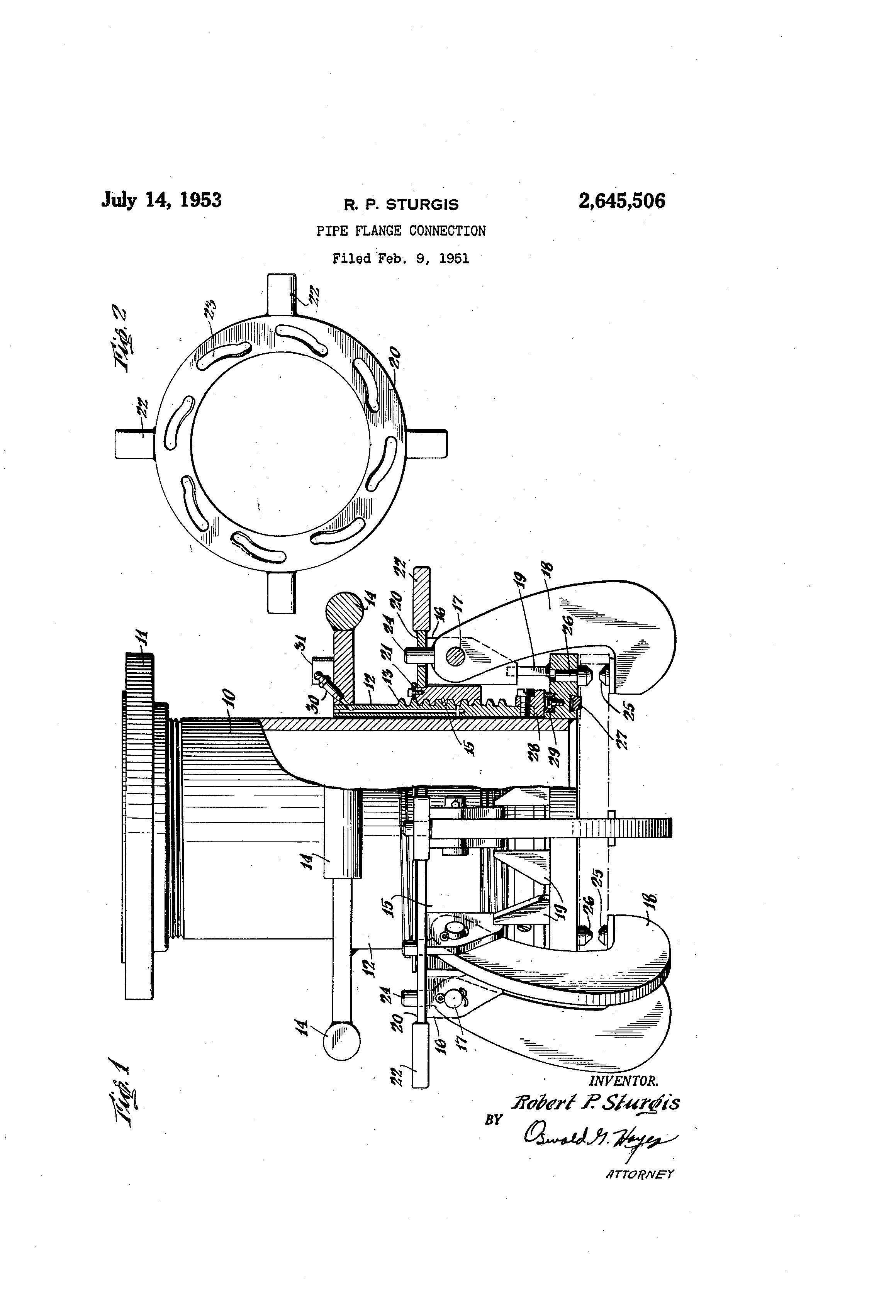 Patent US2645506 - Pipe flange connection - Google Patents