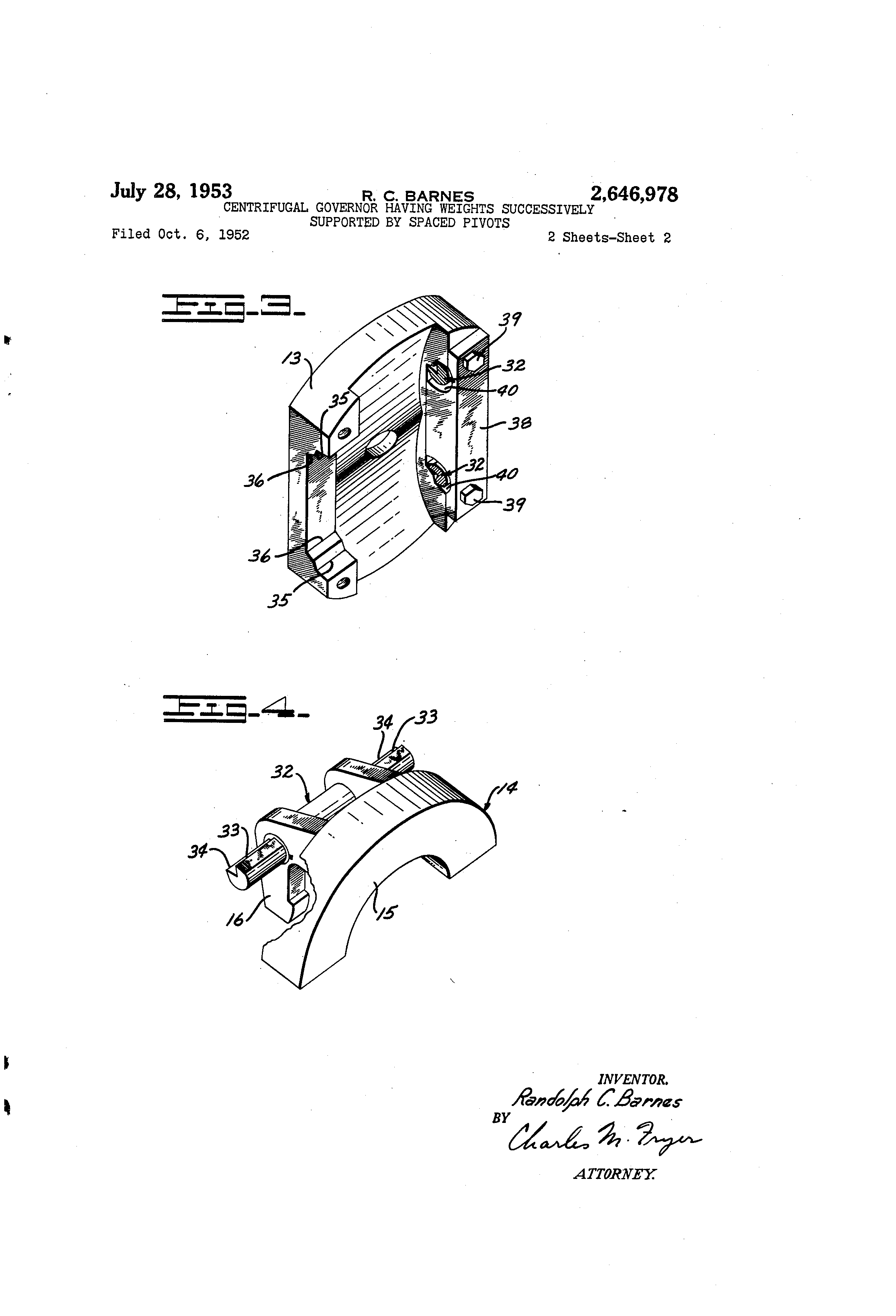 Brevet US2646978 - Centrifugal governor having weights