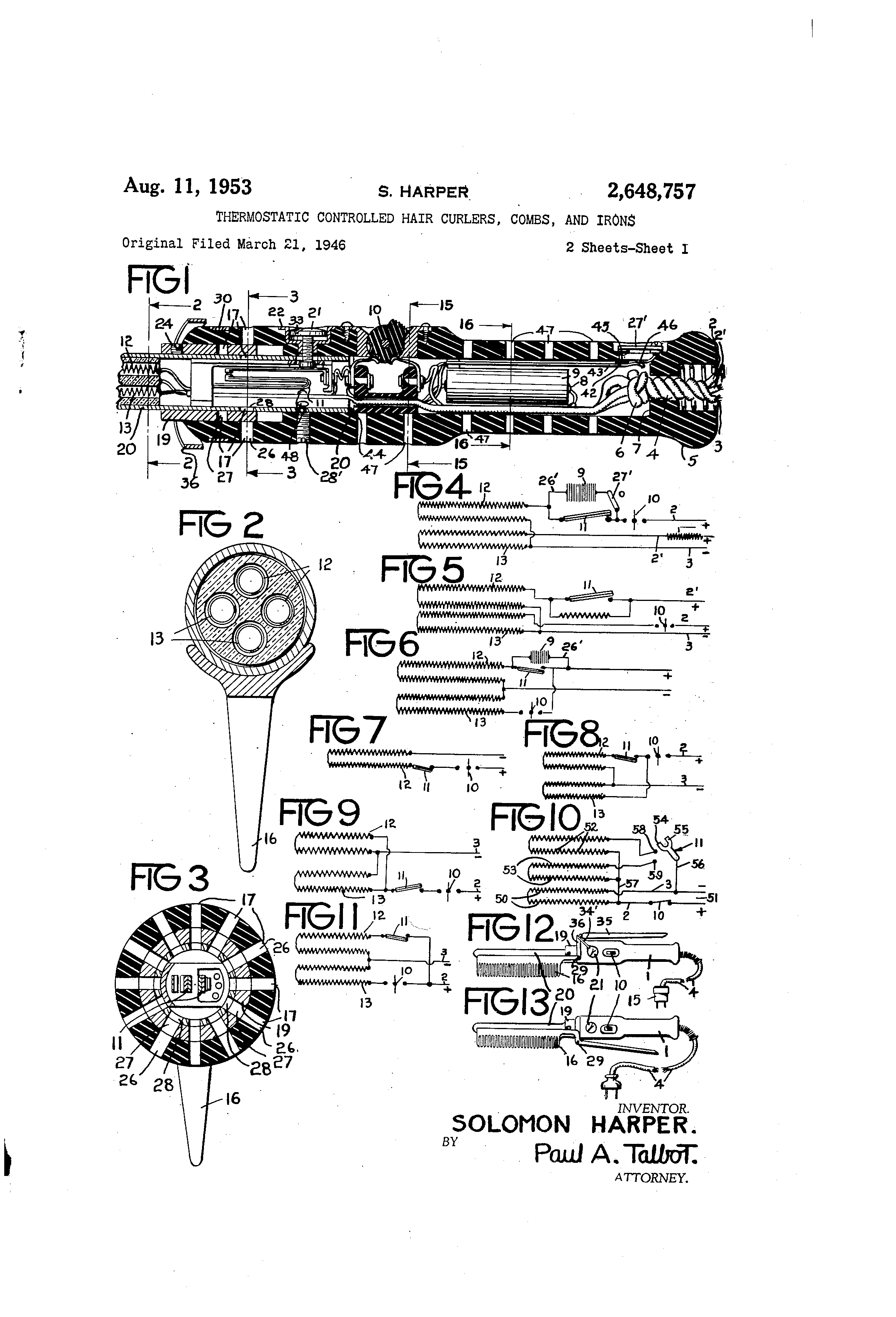 patent us2648757 thermostatic controlled hair curlers combs patent drawing