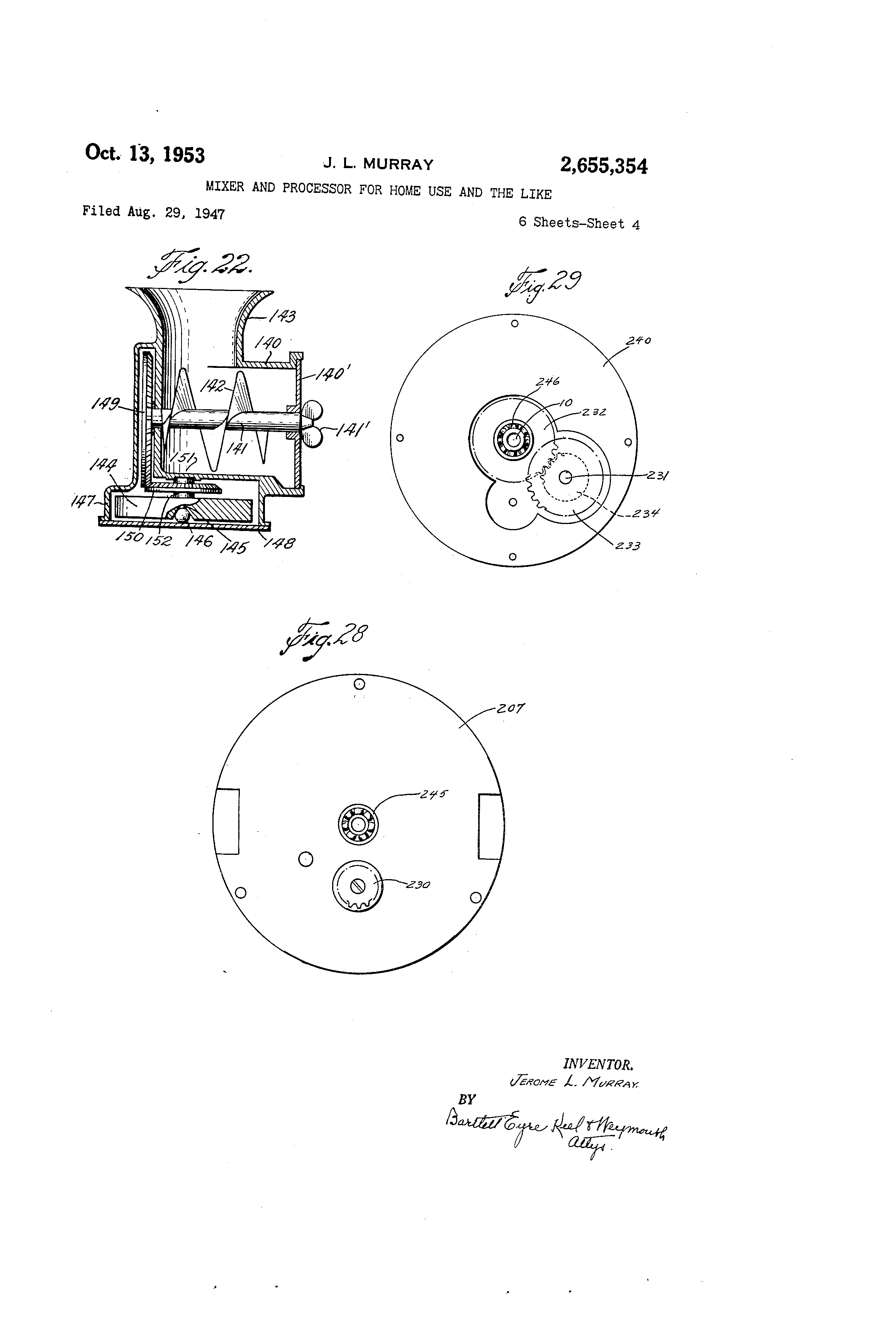 patent us2655354 mixer and processor for home use and the like Henry J Gasser patent drawing
