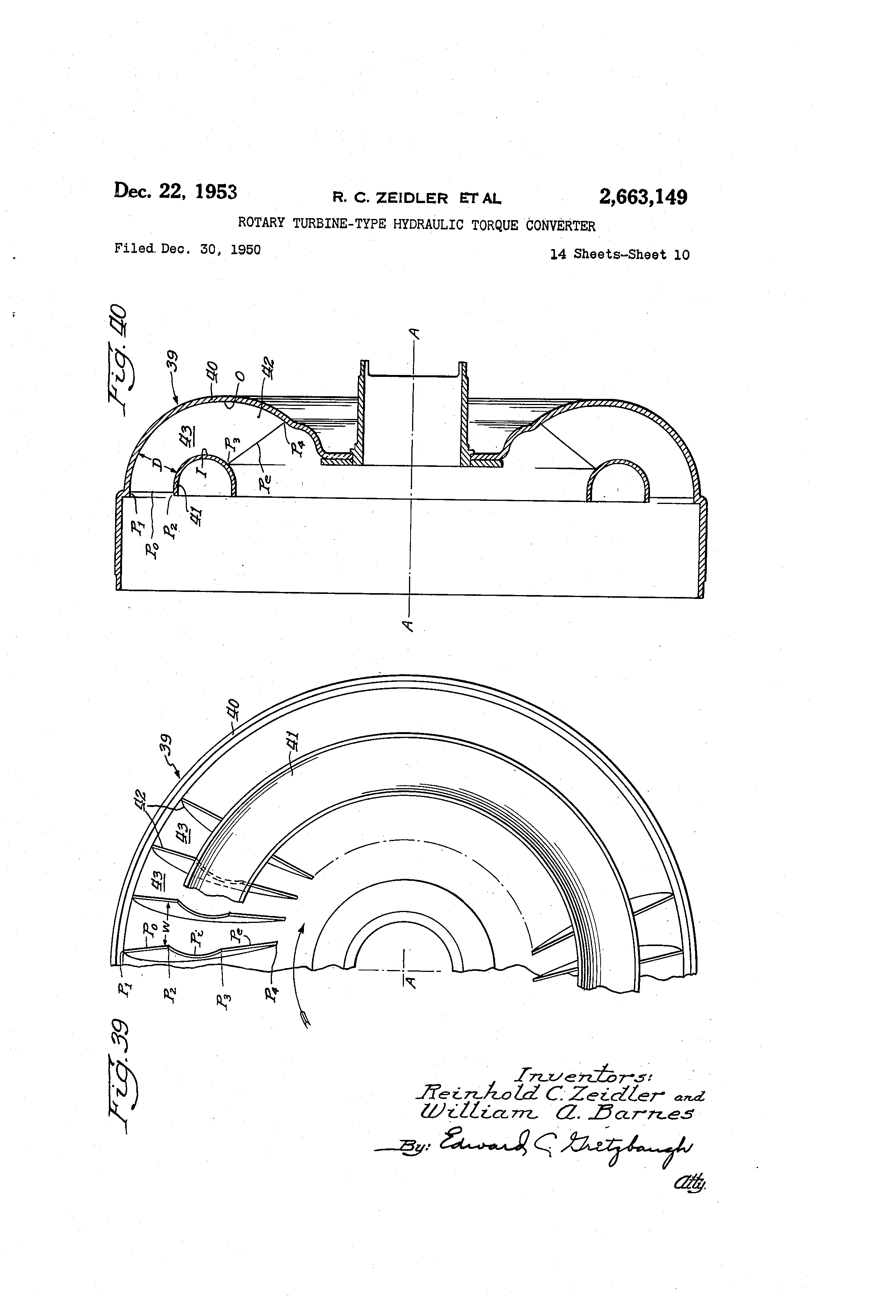 Patent Us2663149 Rotary Turbine Type Hydraulic Torque Converter Barnes Pump Wiring Diagram For Drawing